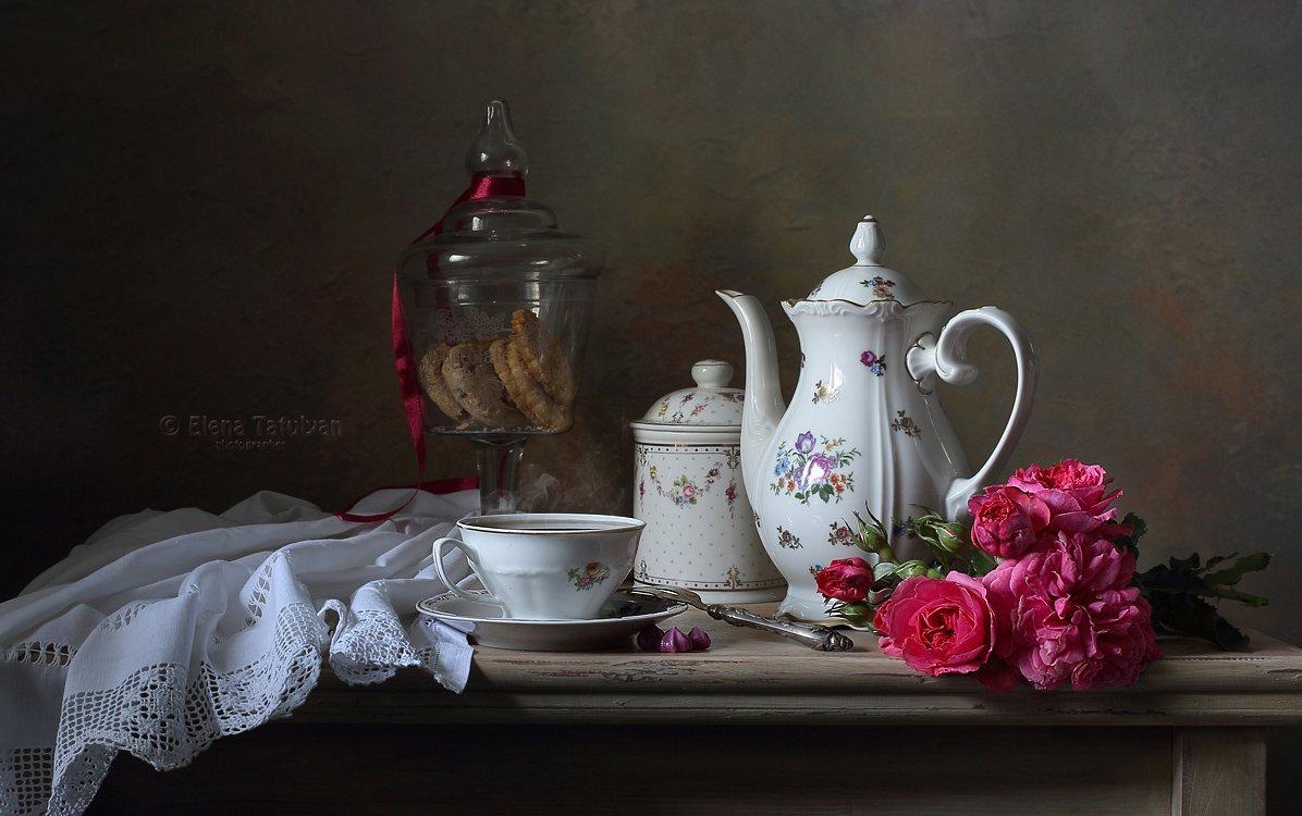 чайник, чай, печенье, розы, букет, посуда, фарфор, чашка,, Елена Татульян