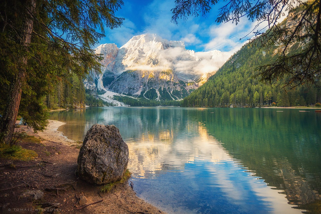 dolomites, dolomiti, italy, italia, amore, lago, braies, alps, landscape, light, rocks, mountains, shadows, beautiful, trees, stone, awesome, amazing, reflection, Tomasz Wieczorek