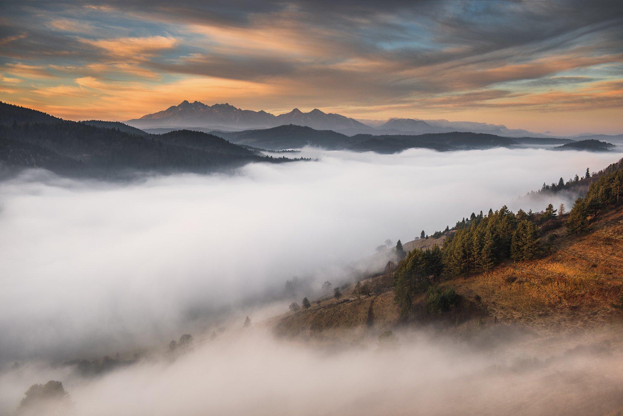 mountains, poland, slovakia, tatry, pieniny, light, surise, sun, light, landscape, hills, warm, colors, winter,, Bieganski Patryk