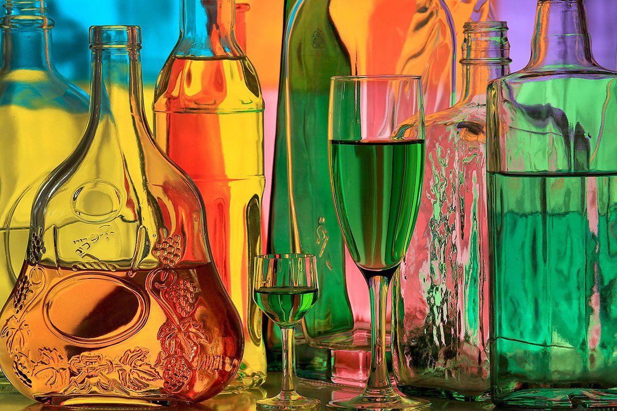 бутылки, бокал, рюмка, напиток, абсент, натюрморт,, Victor Pechenev
