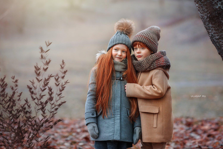 портрет, осень, девочка, мальчик, boy, girl, autumn, лес, друзья, солнышко, лучи, sun, happy, happiness, сказка, волшебство, magik, рыжие, рыжики, red, зима, winter, Юлия Сафо