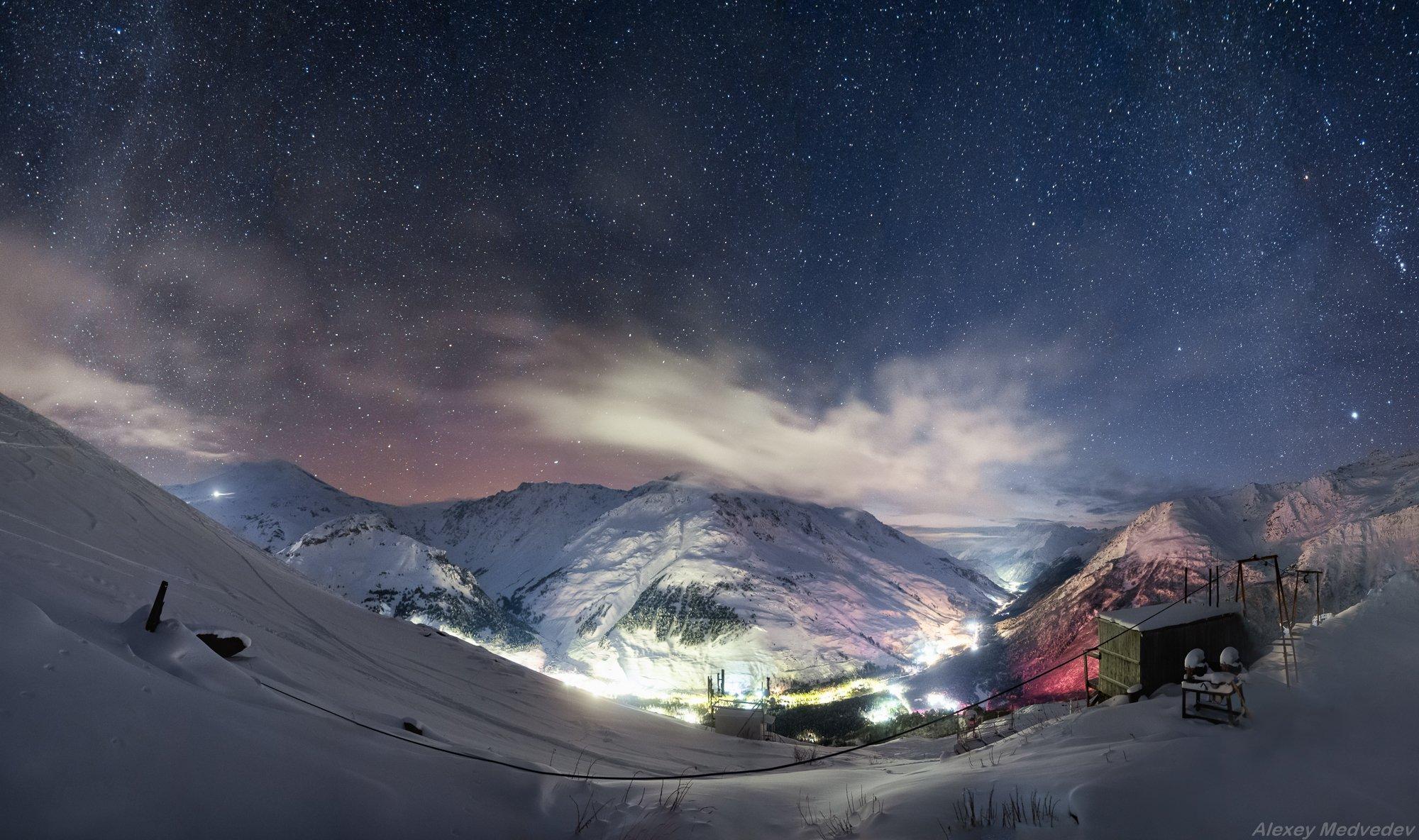 зима, кавказ, эльбрус, терскол, ночь, звезды, горы,, Алексей Медведев