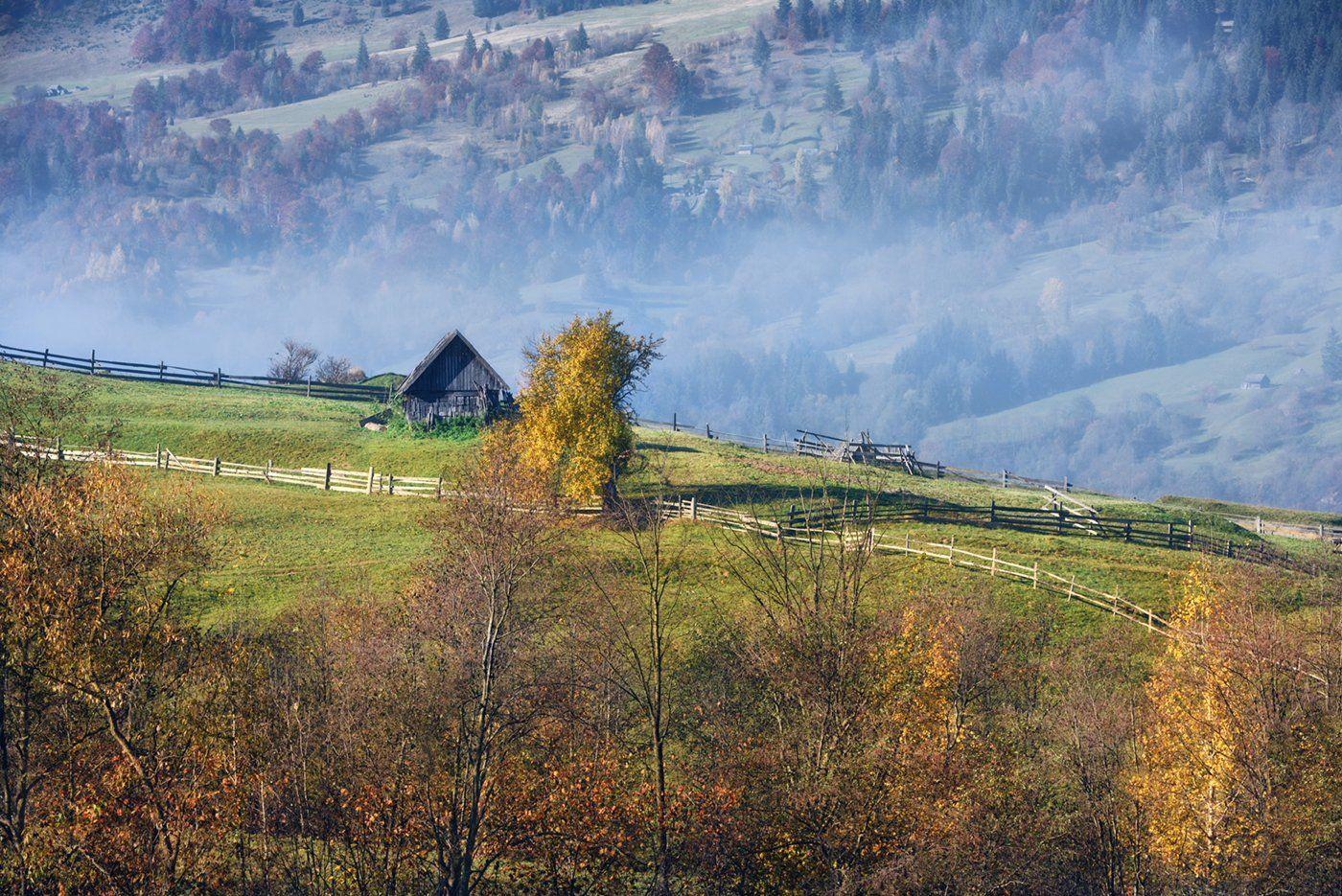 горы, осень, изба, Вьюшкин Игорь