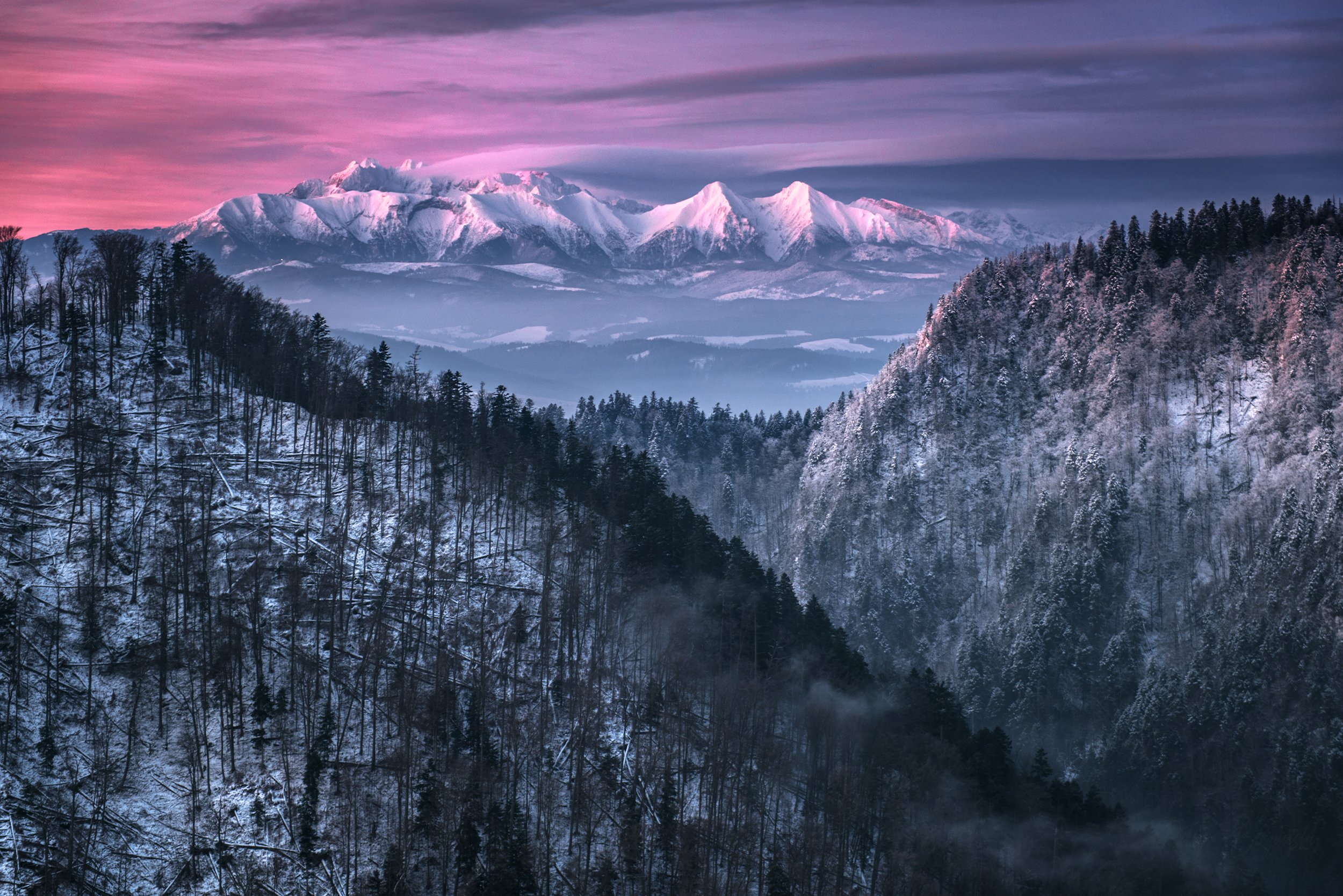 mountains, poland, slovakia, tatry, pieniny, light, sunrise, sun, light, landscape, hills, warm, winter, cold, colors,, Bieganski Patryk