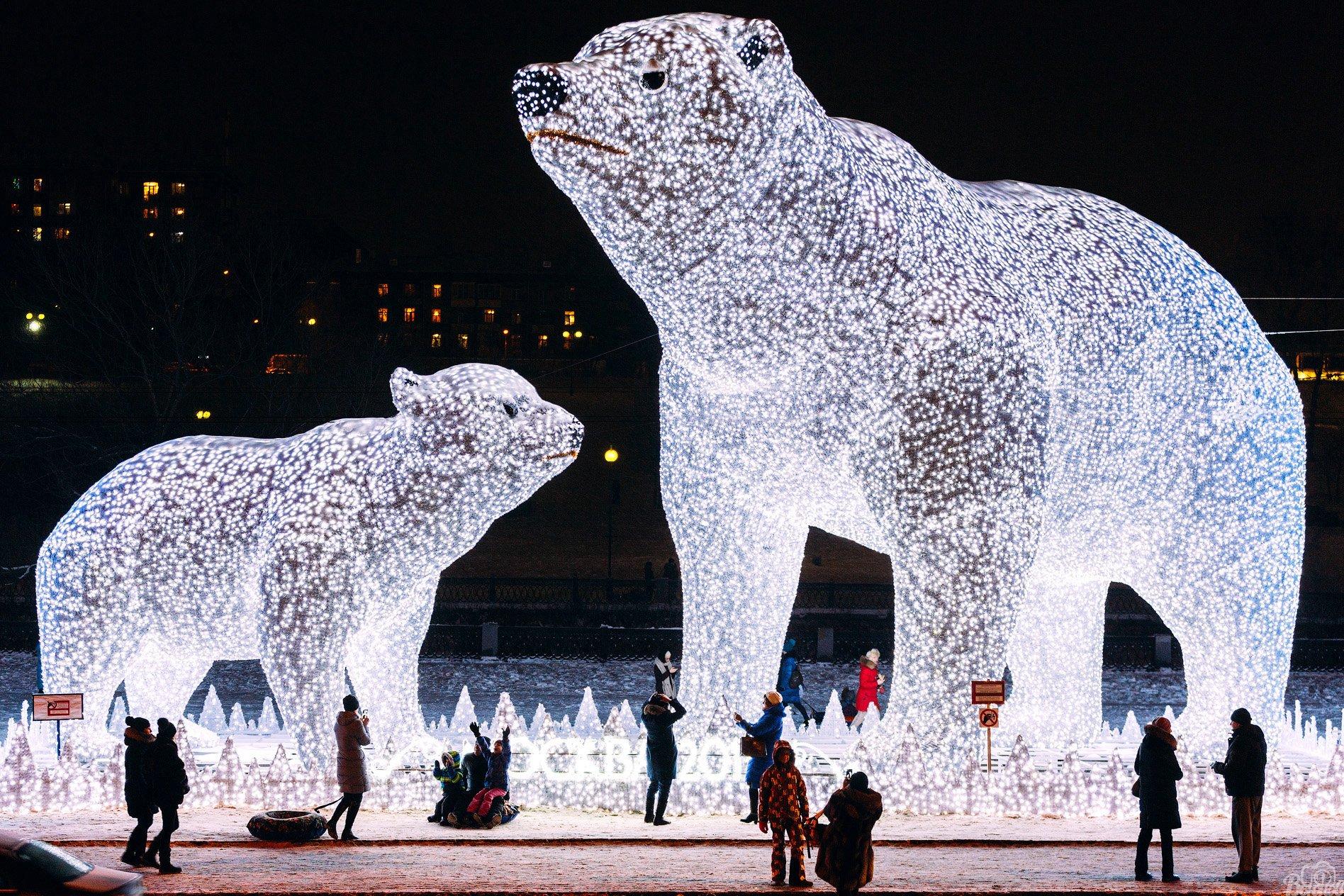 новогодние белые медведи,белые медведи,москва,новый год,оформление,парк акведук,ростокинский акведук,, Вьюнов Сергей
