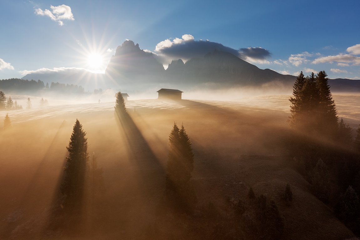 fog, morning, dolomites, peaks, mountains, alps, italy, landscape, mood, atmosphere, sunrise, clouds, trees, sun rays, Martin Rak