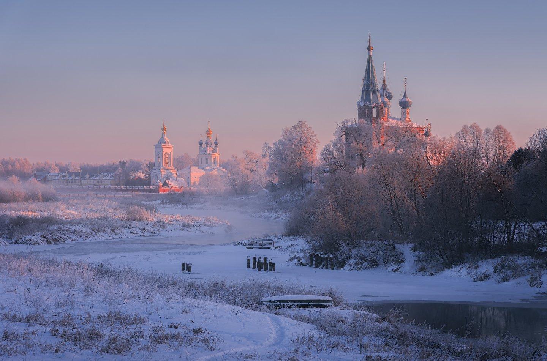 утро, рассвет, природа, туман, река,дунилово, Виталий Левыкин