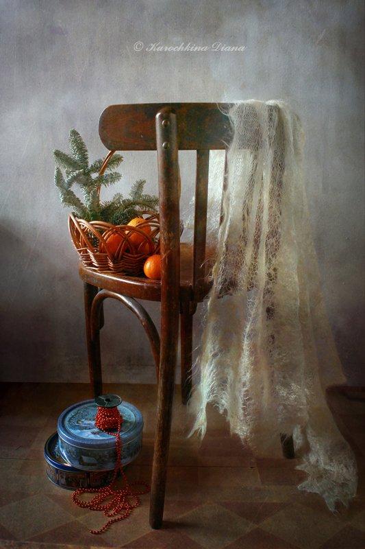 натюрморт, стул, мандарины, шаль, 3 января, Курочкина Диана