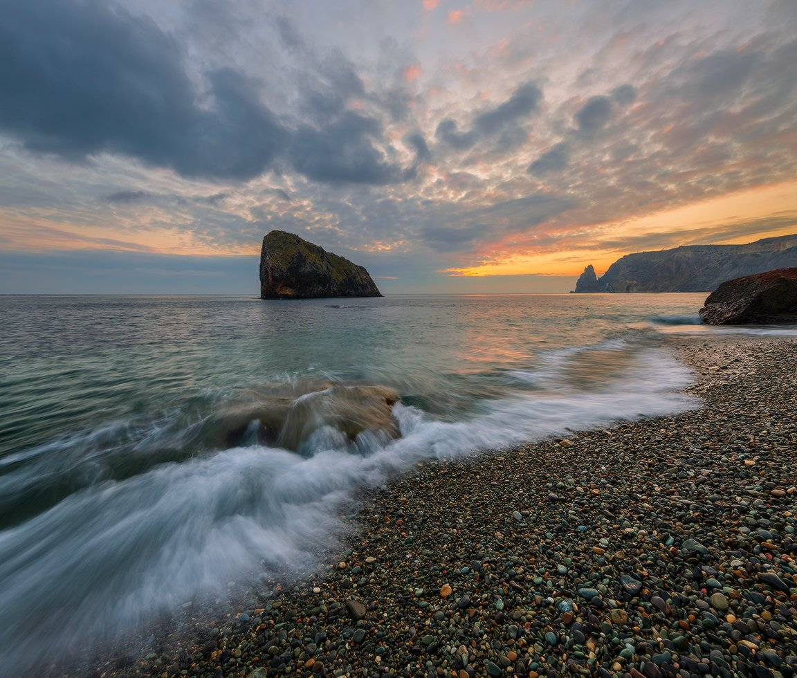 крым севастополь фиолент скала святого явления яшмовый пляж январь закат, Николай