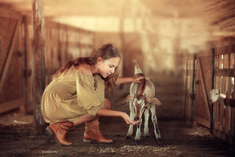 деревня, ферм, адевочка, лето, козочка, козленок, girl, summer, друзья, happy, happiness, village, goat, farm, Юлия Сафо