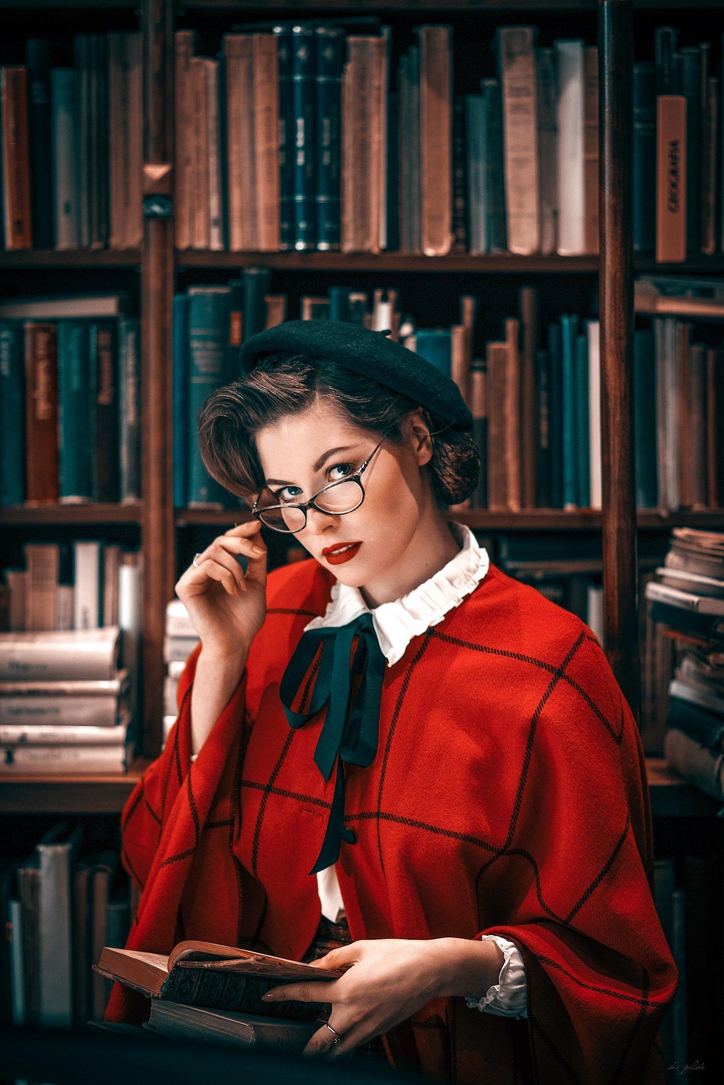 woman portrait retro library, ibiphoto