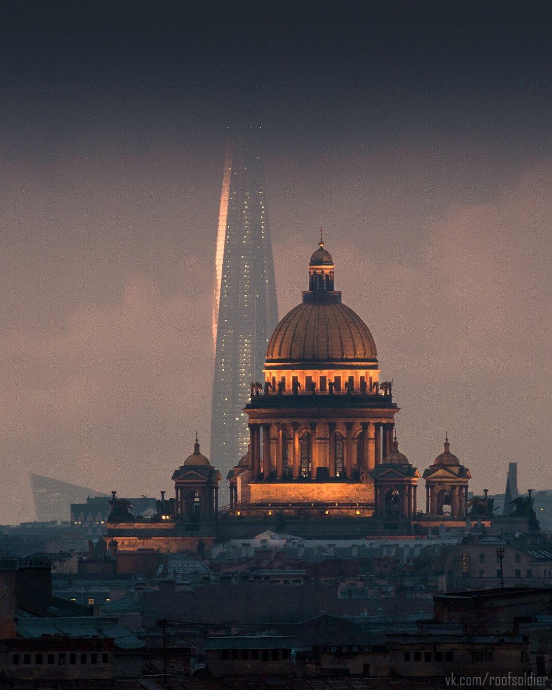 Санкт-Петербург, небоскреб, крыша, собор, церковь, пейзаж, город, Голубев Алексей