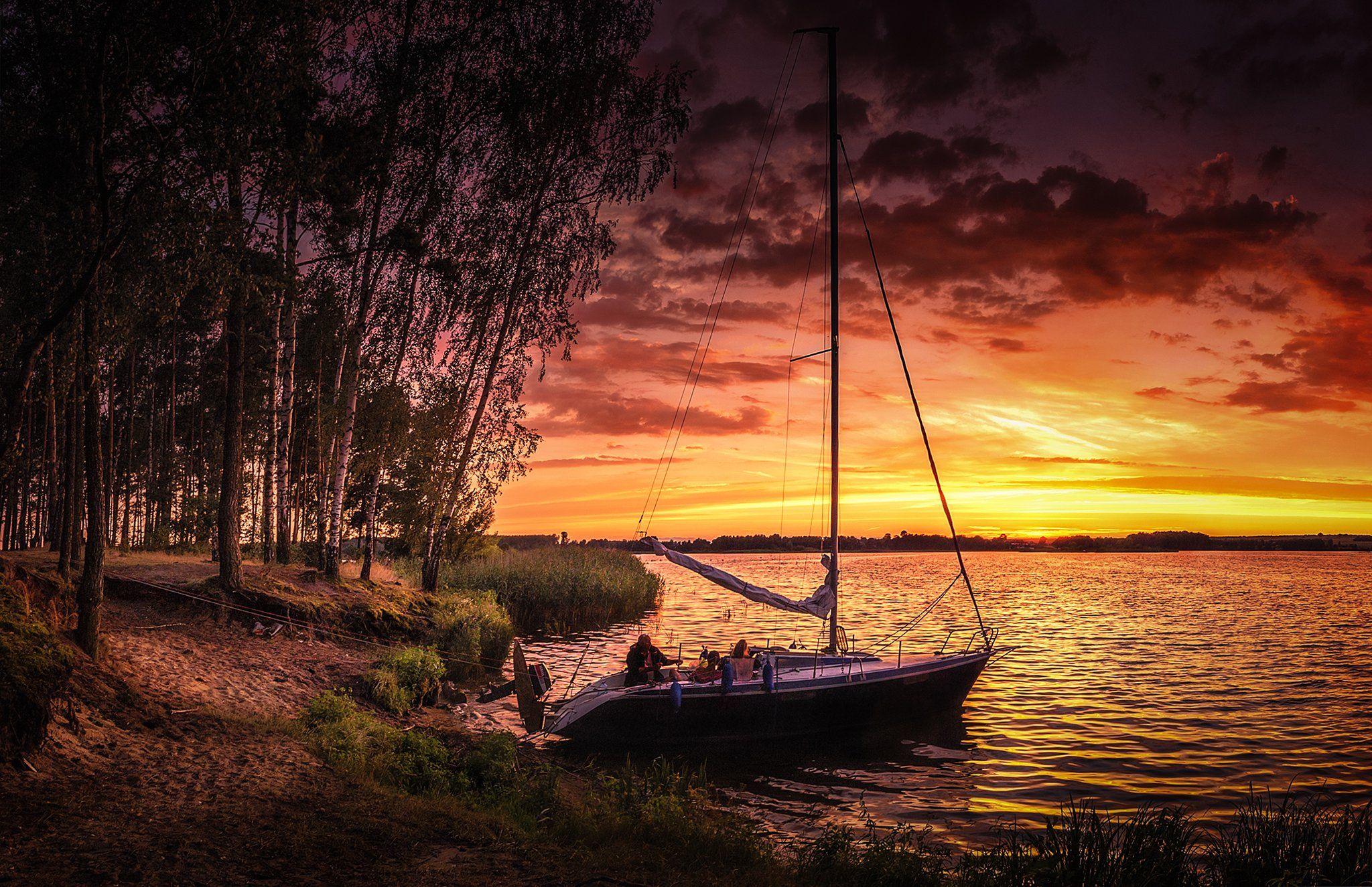 nature, sun, sky, lake, sunset, boat, tree, Olejniczak Paweł