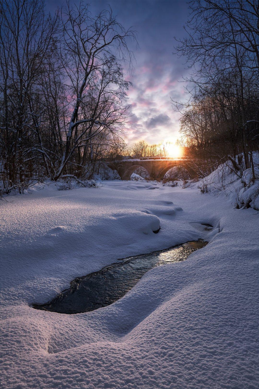 река лава, зима, закат, ленинградская область, KrubeK