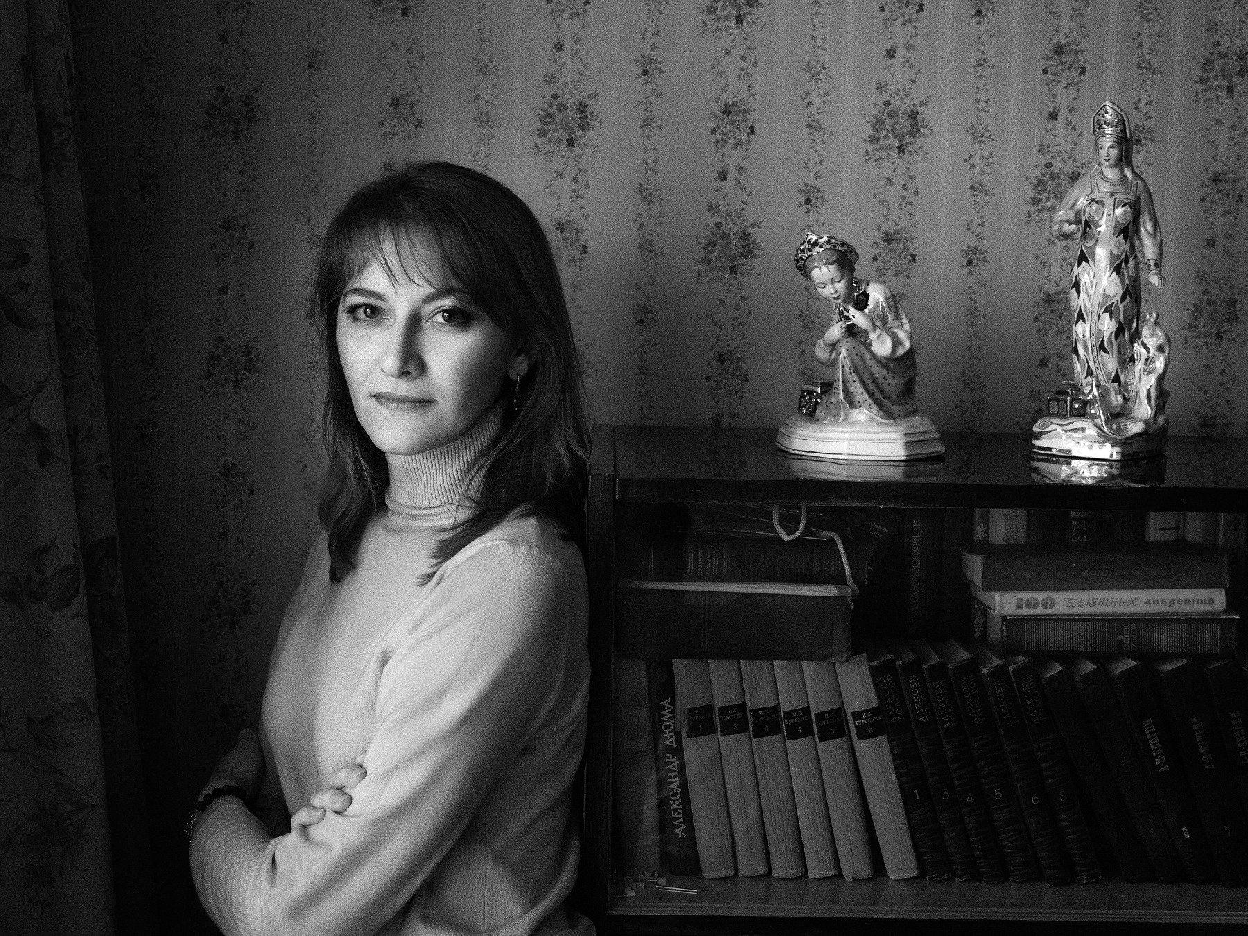 портрет, монохром, девушка, ретро, Алексей Школдин