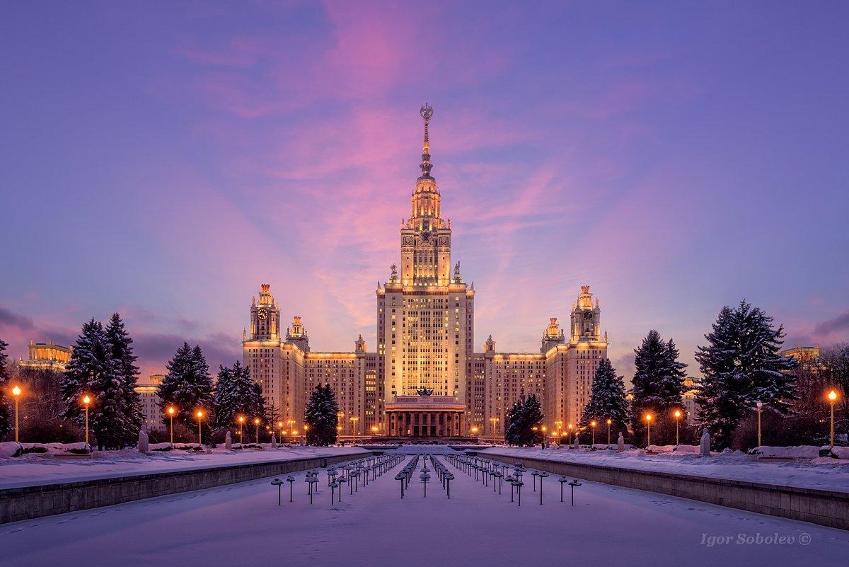 мгу, москва, закат, зима, moscow state university. moscow, sunset, winter, Игорь Соболев