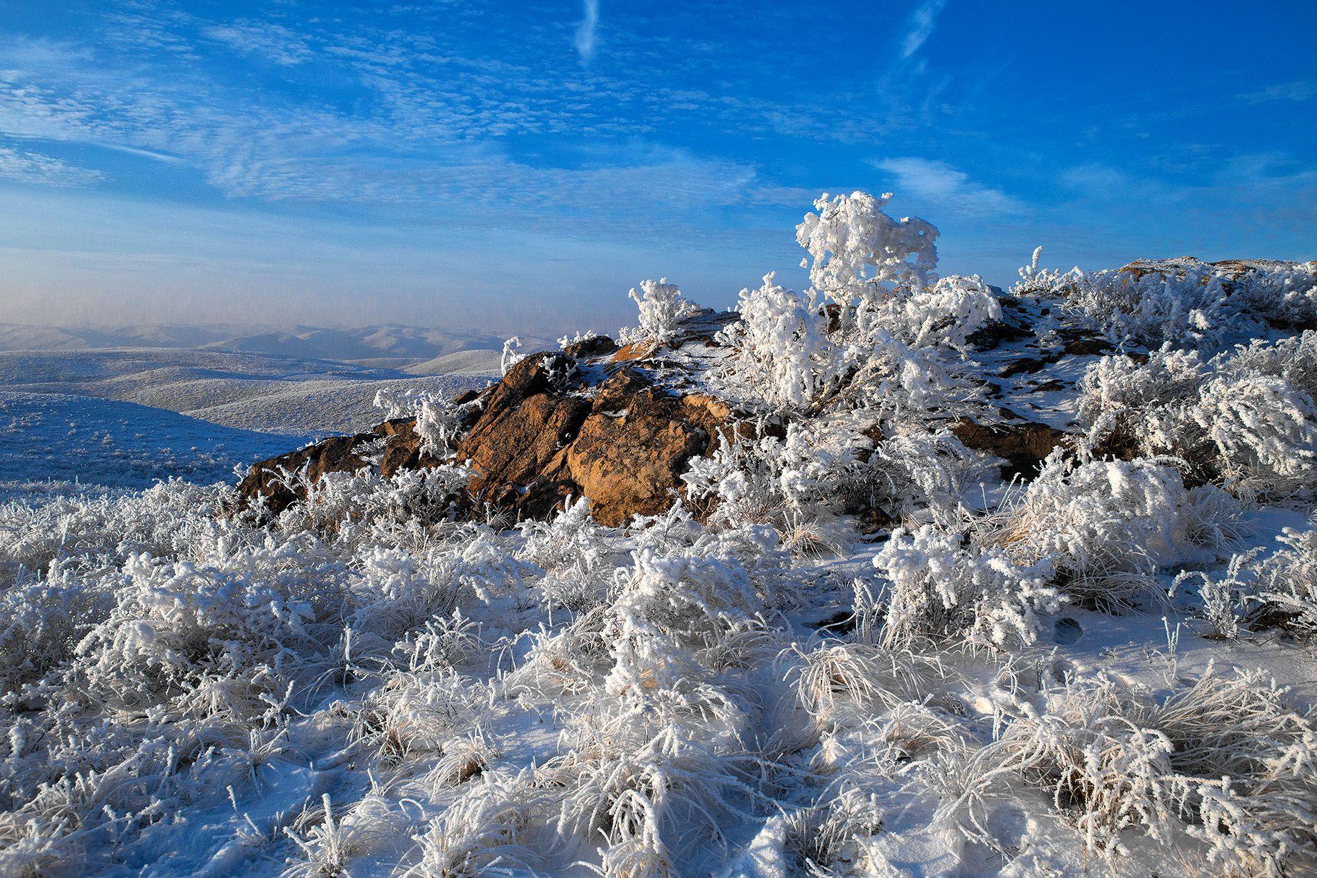 иней зима степи изморось снег скалы степи, Качурин Алексей