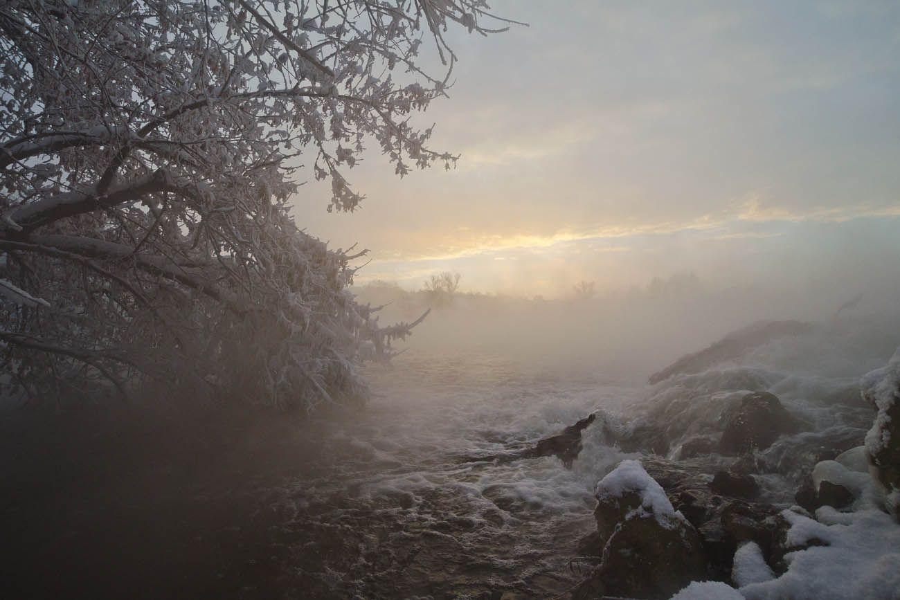 озеро, горячка, водосток, кмз, зима, утро, Михаил Агеев
