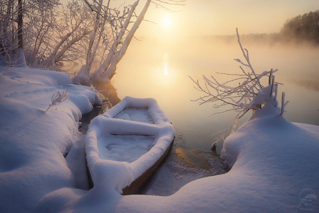 пейзаж, природа, озеро, лодка, шатура, зима, мороз, Анатолий Гордиенко www.fototour.org