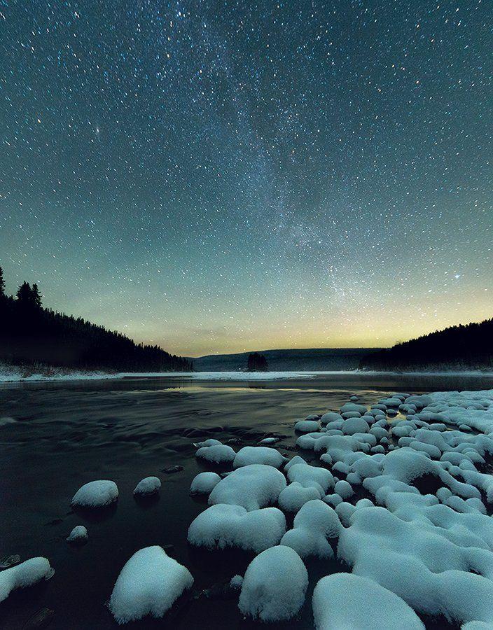 озеро, звезды, паанаярви, карелия, ночь, Казаков Петр