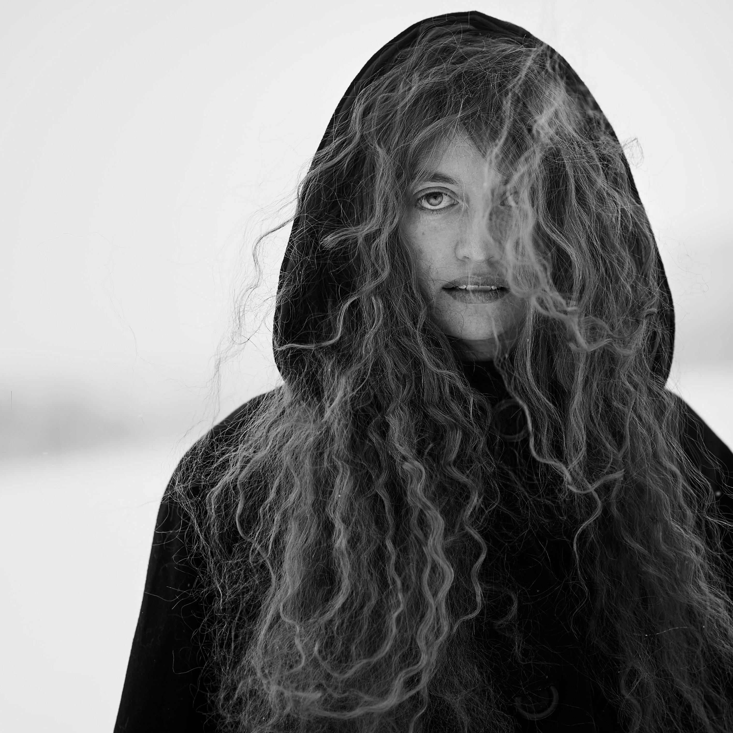 woman, eye, eyes, witch, wizard, winter, cold, snow, wind, hair, long hair, black&whitw, b&w, bw, Соломатина Екатерина