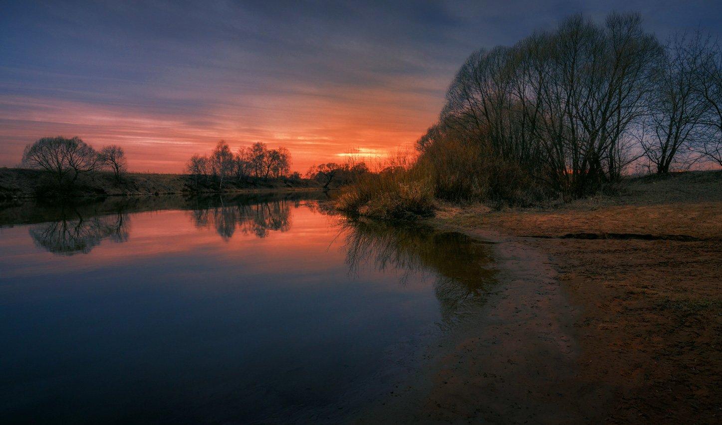 река, москва, вечер, закат, Виктор Климкин