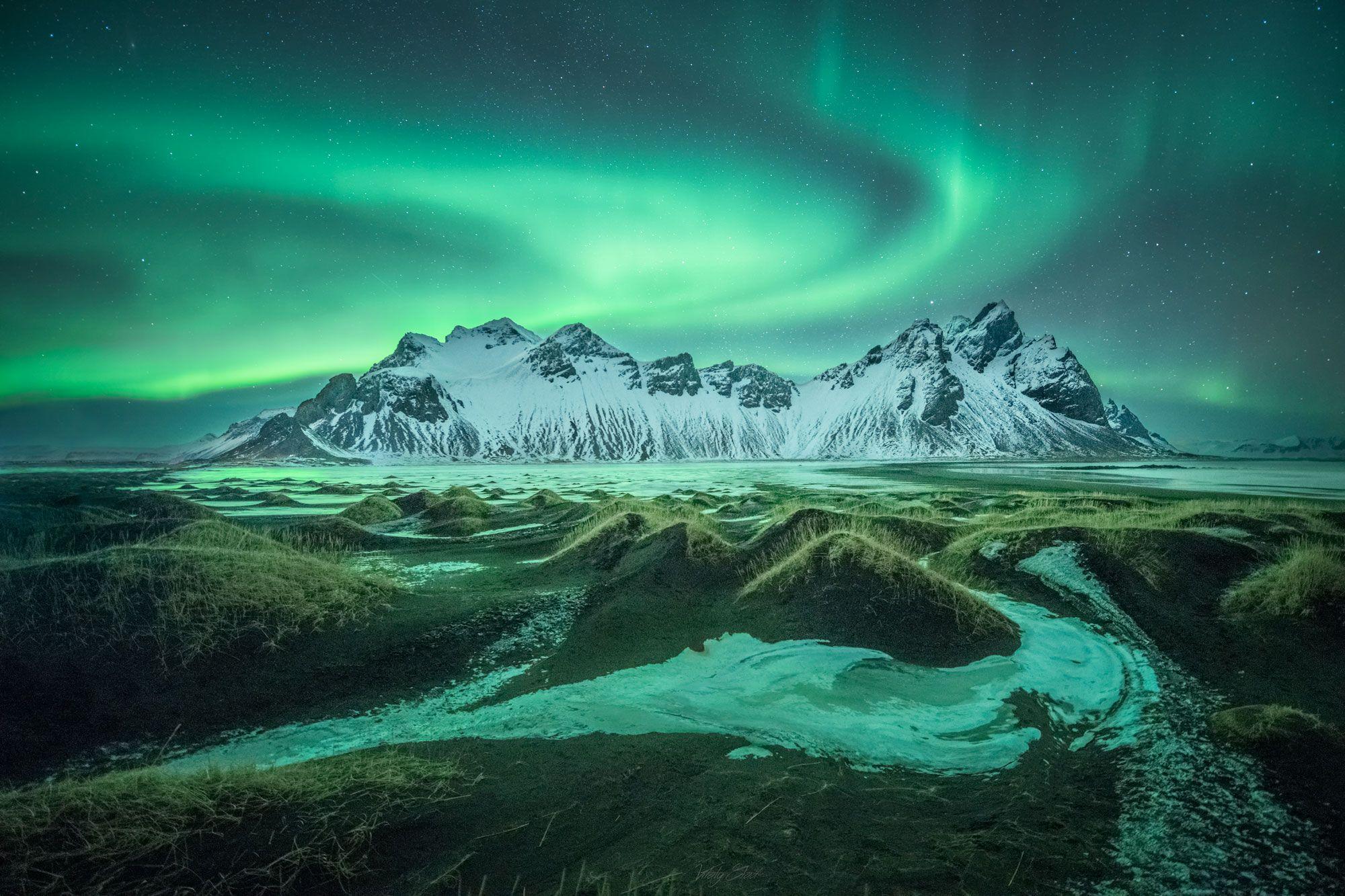Iceland, Vestrahorn, Aurora, Vitaly Glad