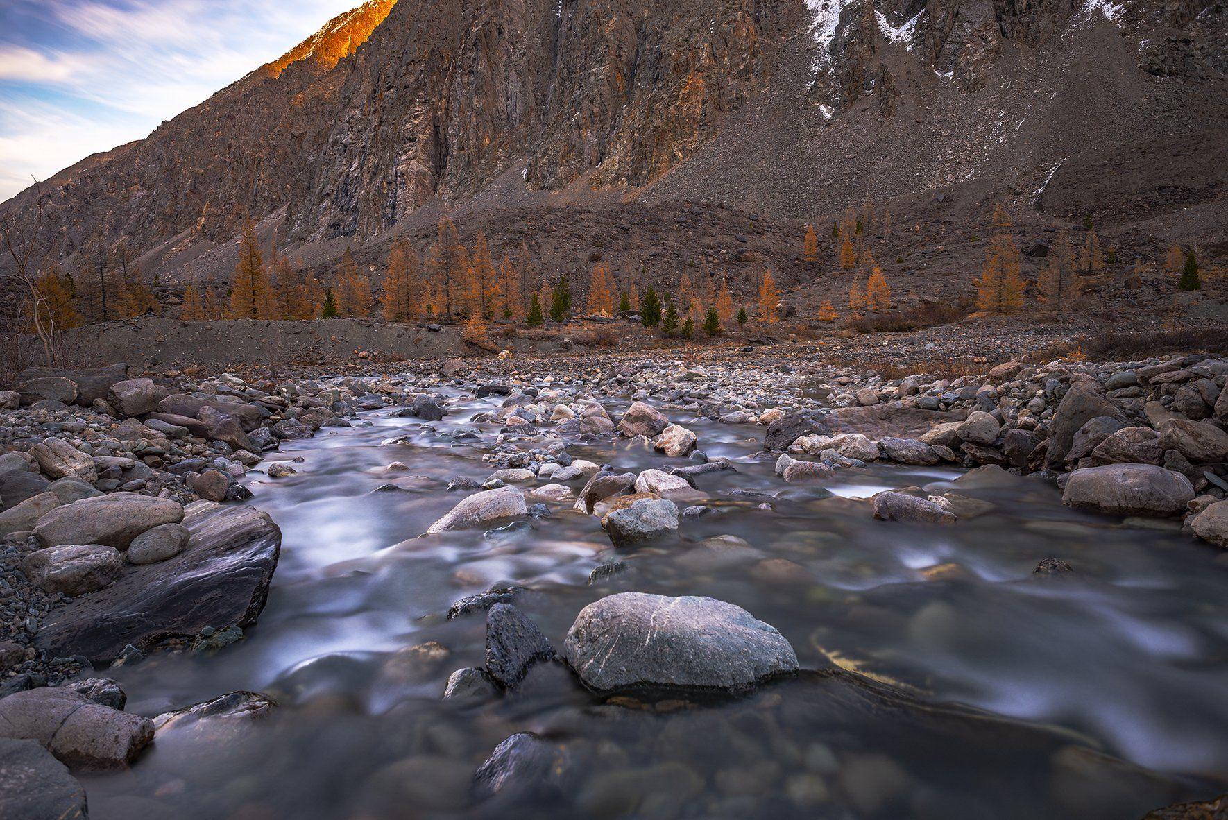 горный алтай, осень, горы, актру, речка, Евгений Шестаев