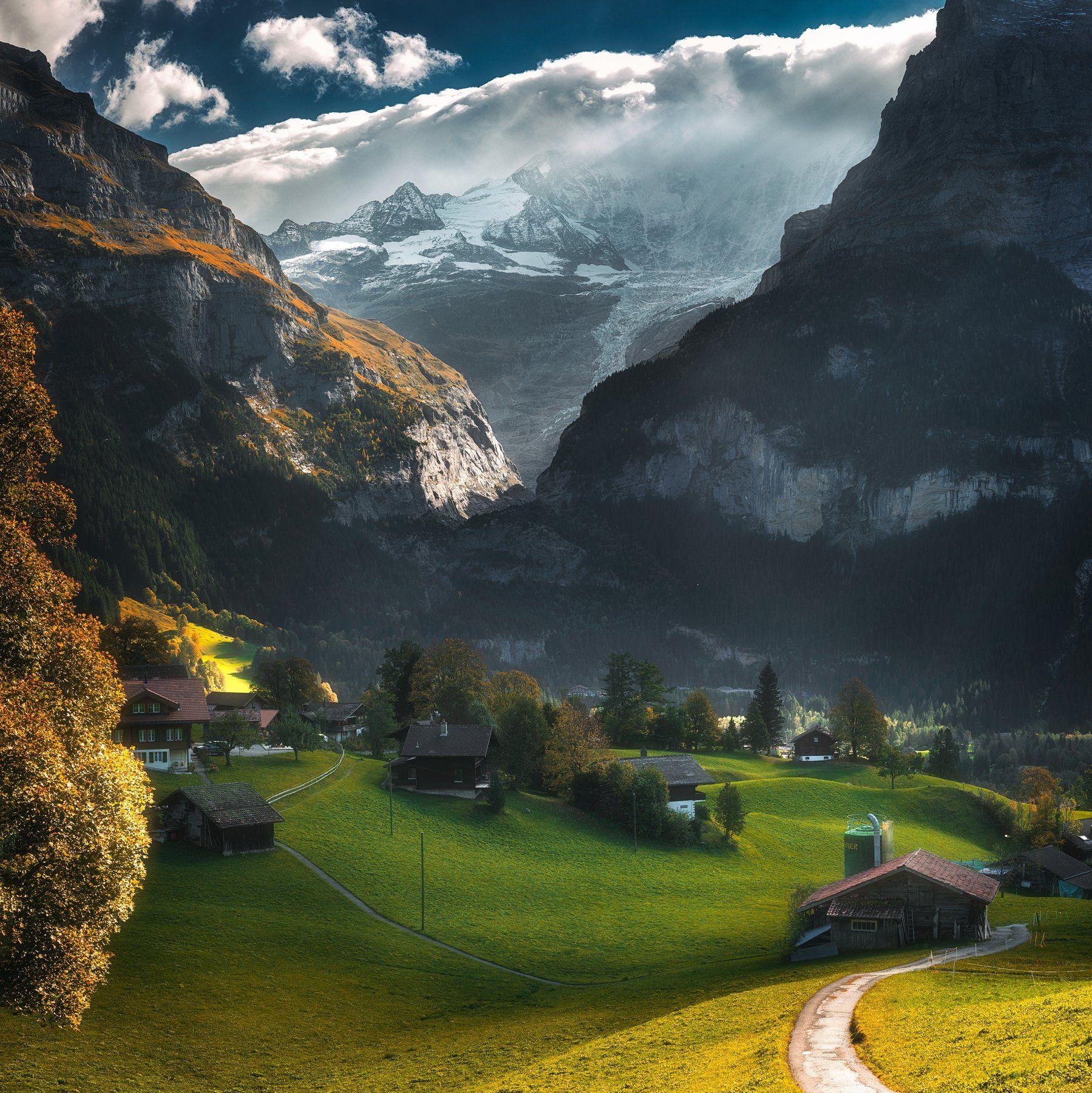 landscape,swiss,mountains,panorama,grindelwald,пейзаж,горы,швейцария, Olegs Bucis
