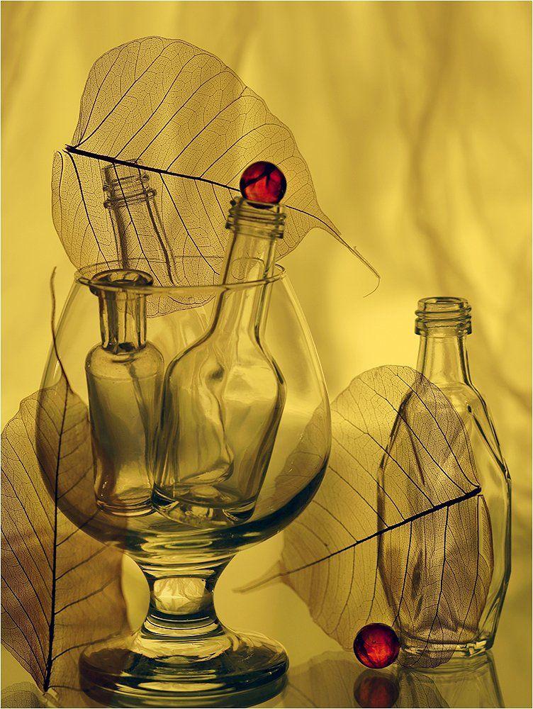 бокал, лист, листья, бутылки, натюрморт,, Victor Pechenev