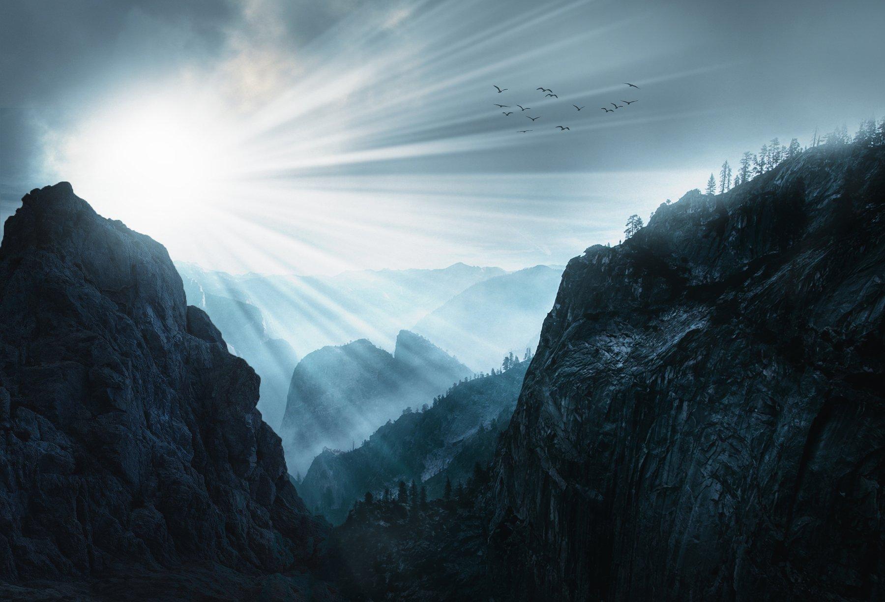 скалы, небо, облака, журавли, Sergii Vidov