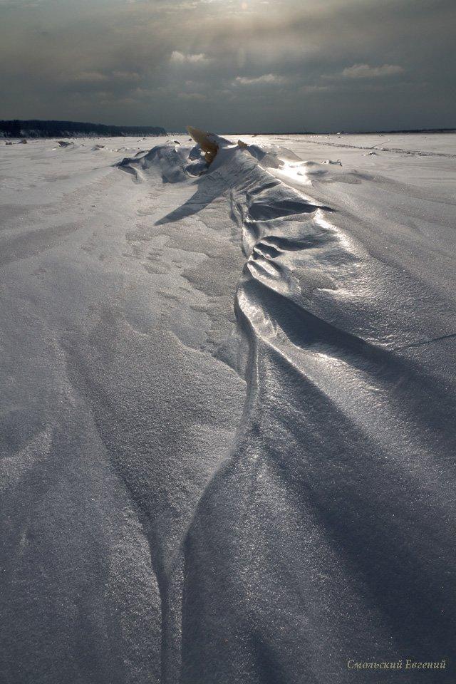 лед, снег, зима, мороз, текстура, пасмурно., Смольский Евгений
