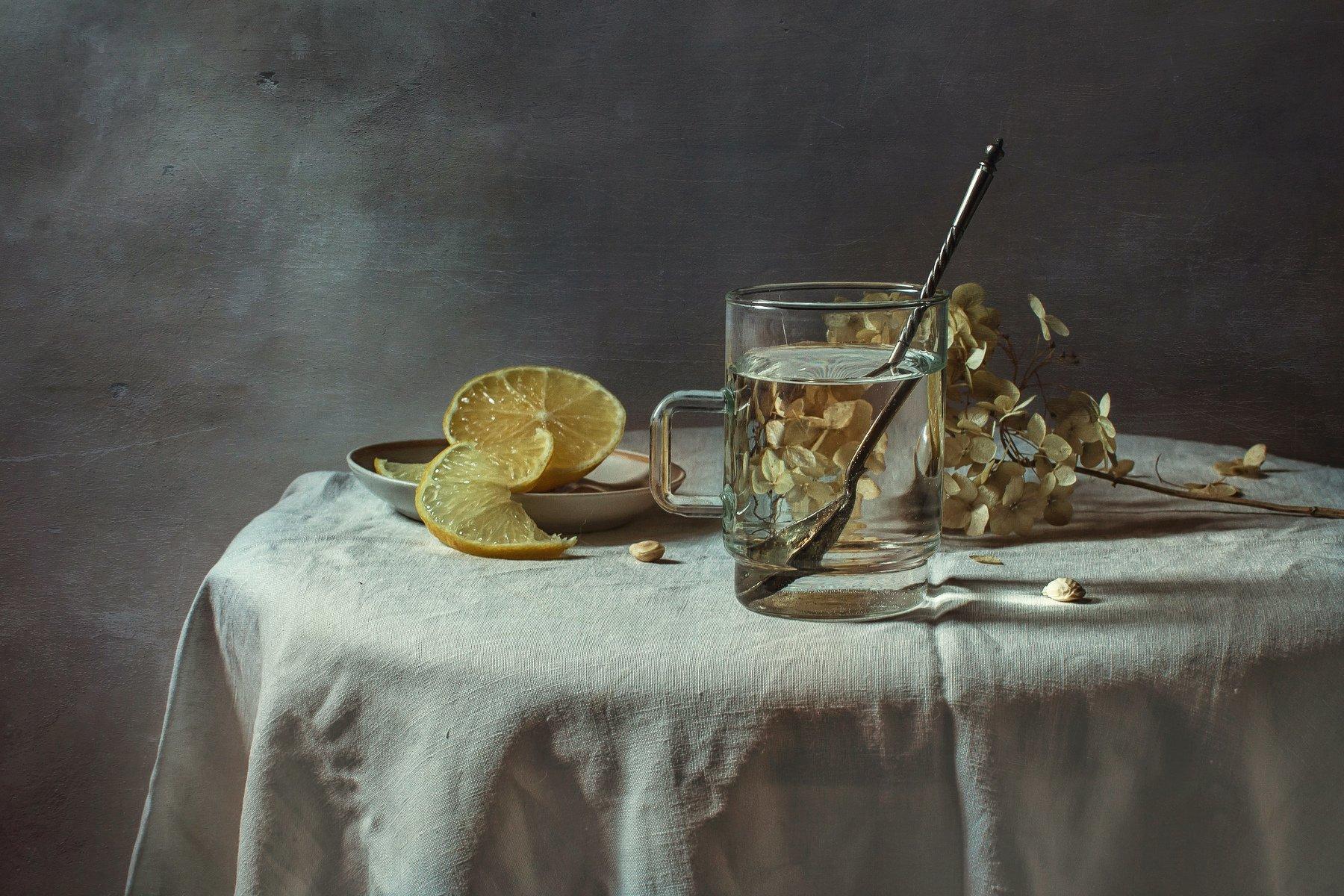 натюрморт, стекло, лимон, Анна Петина
