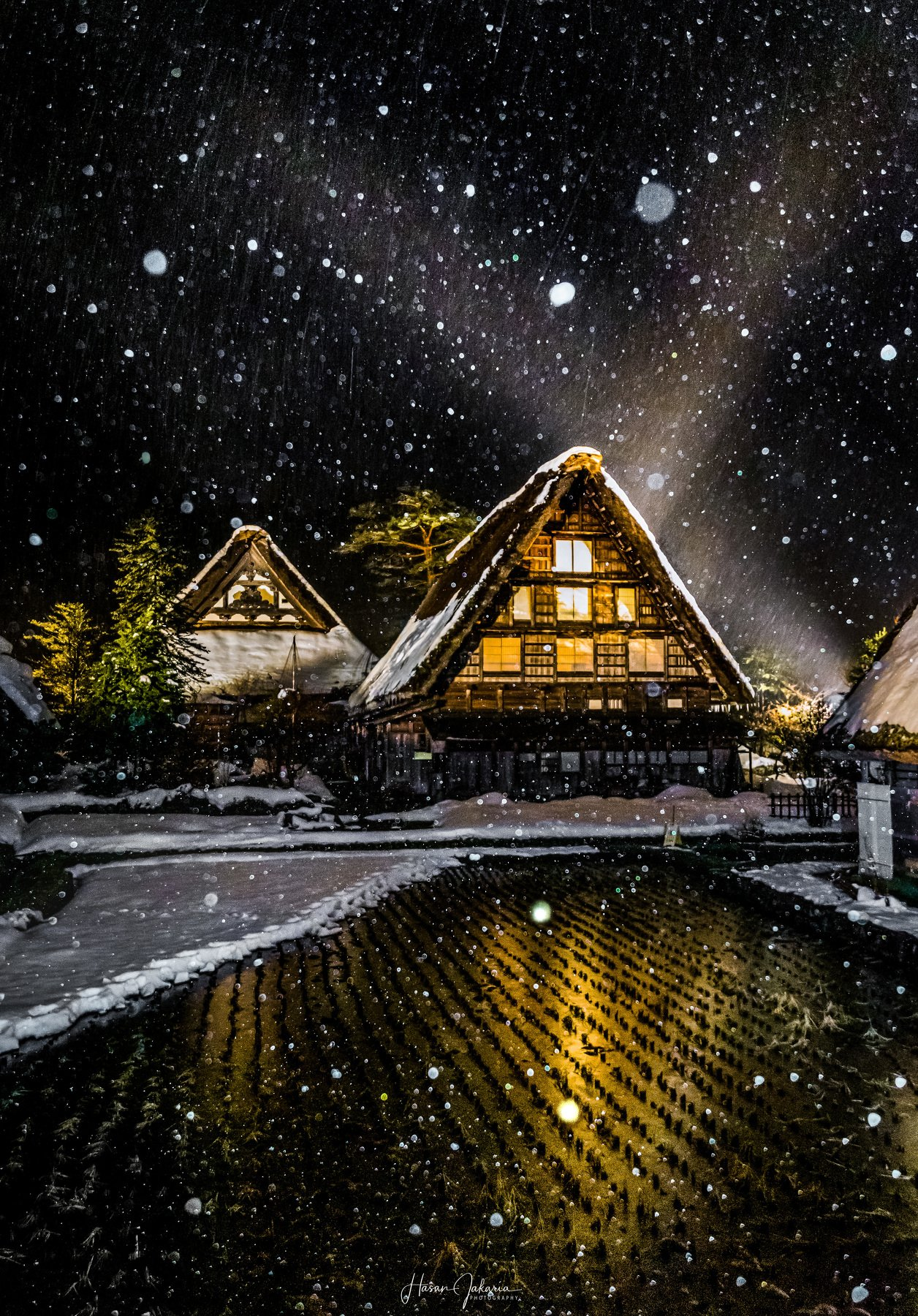 winter snow japan gifu night nightscape nature old house, Hasan Jakaria