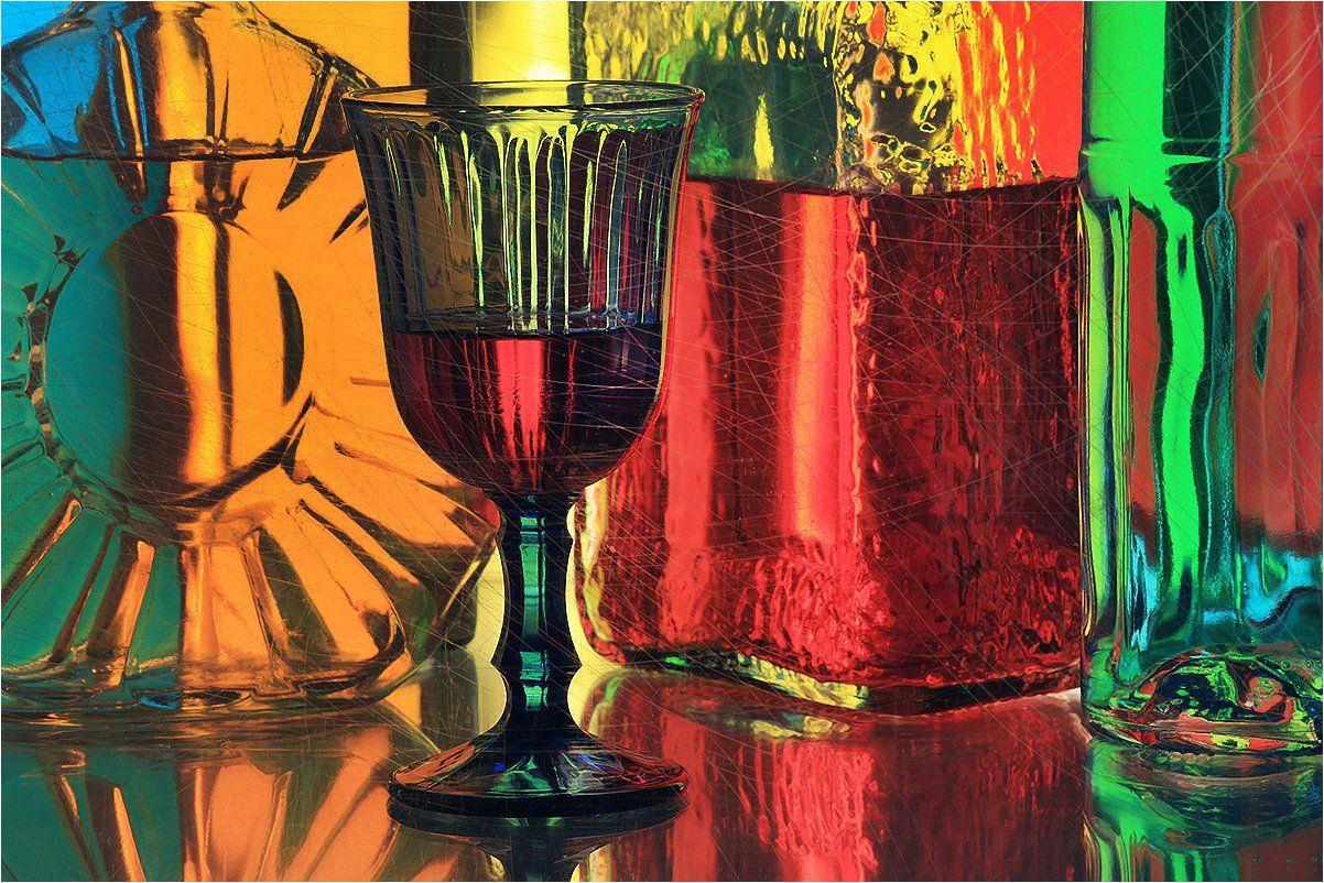 бокал, вино, вино в бокале, бутылки, натюрморт,, Victor Pechenev