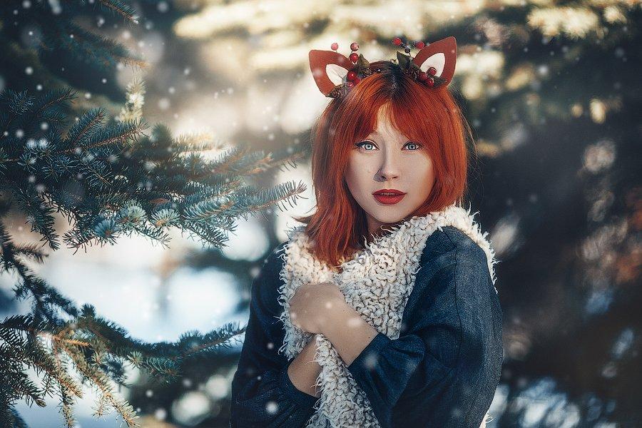 зима лес девушка портрет, Бондарь Марина