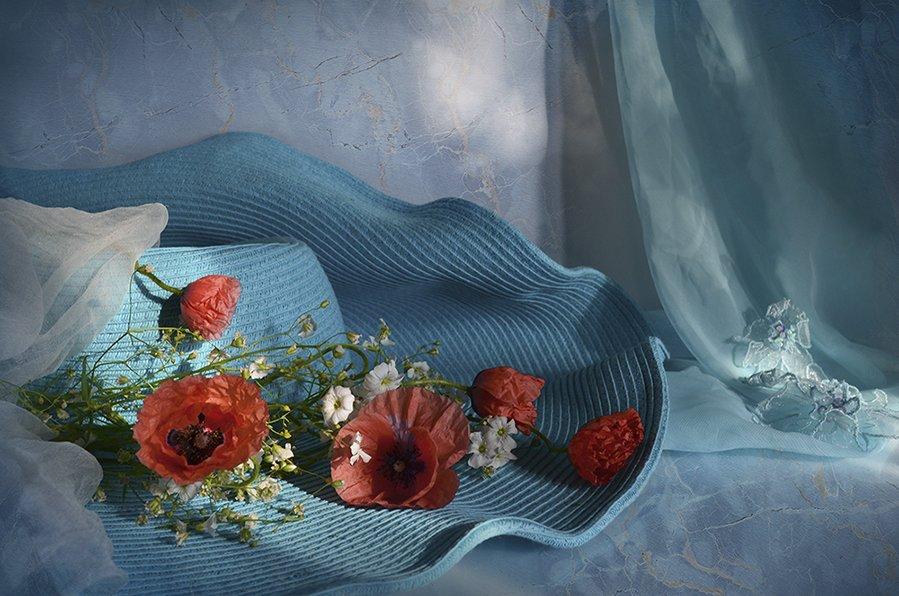 лето соломенная шляпка бирюзовый маки вечер, Eлена Шовкопляс