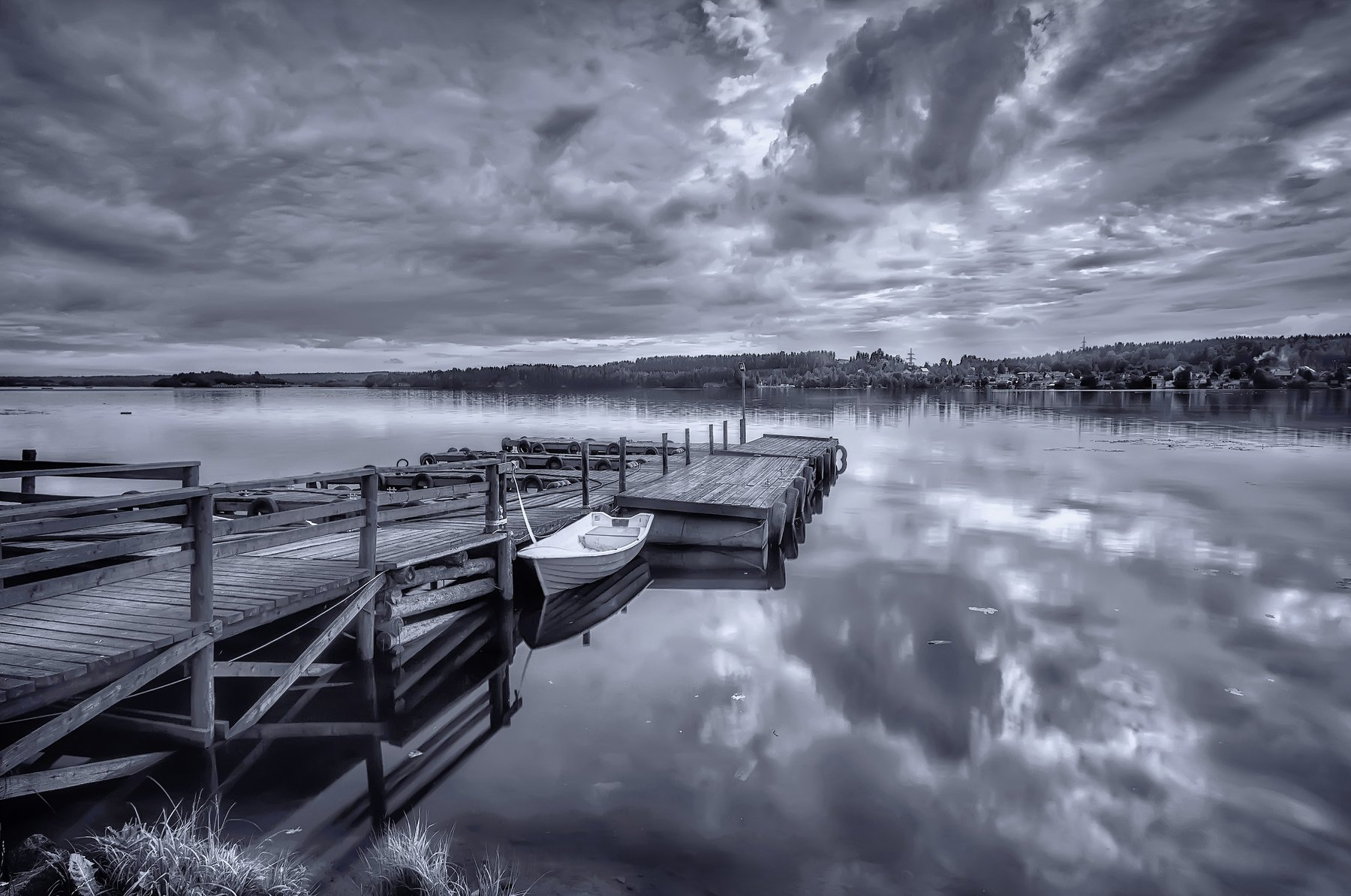 пейзаж,озеро,карелия,лодка,пирс,причал,берег,деревня, Тамара