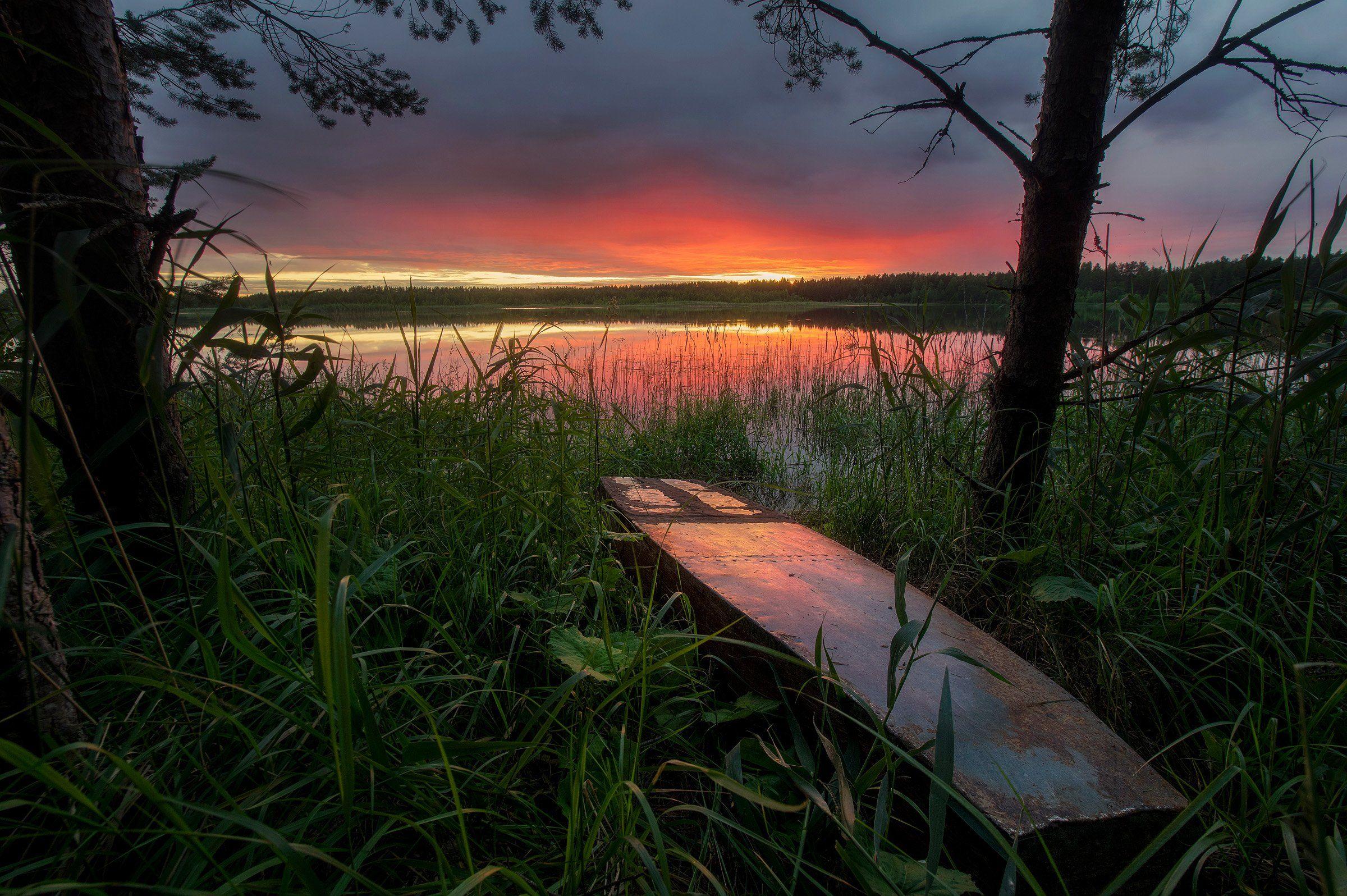 пейзаж, закат, лодка, Таничев Александр