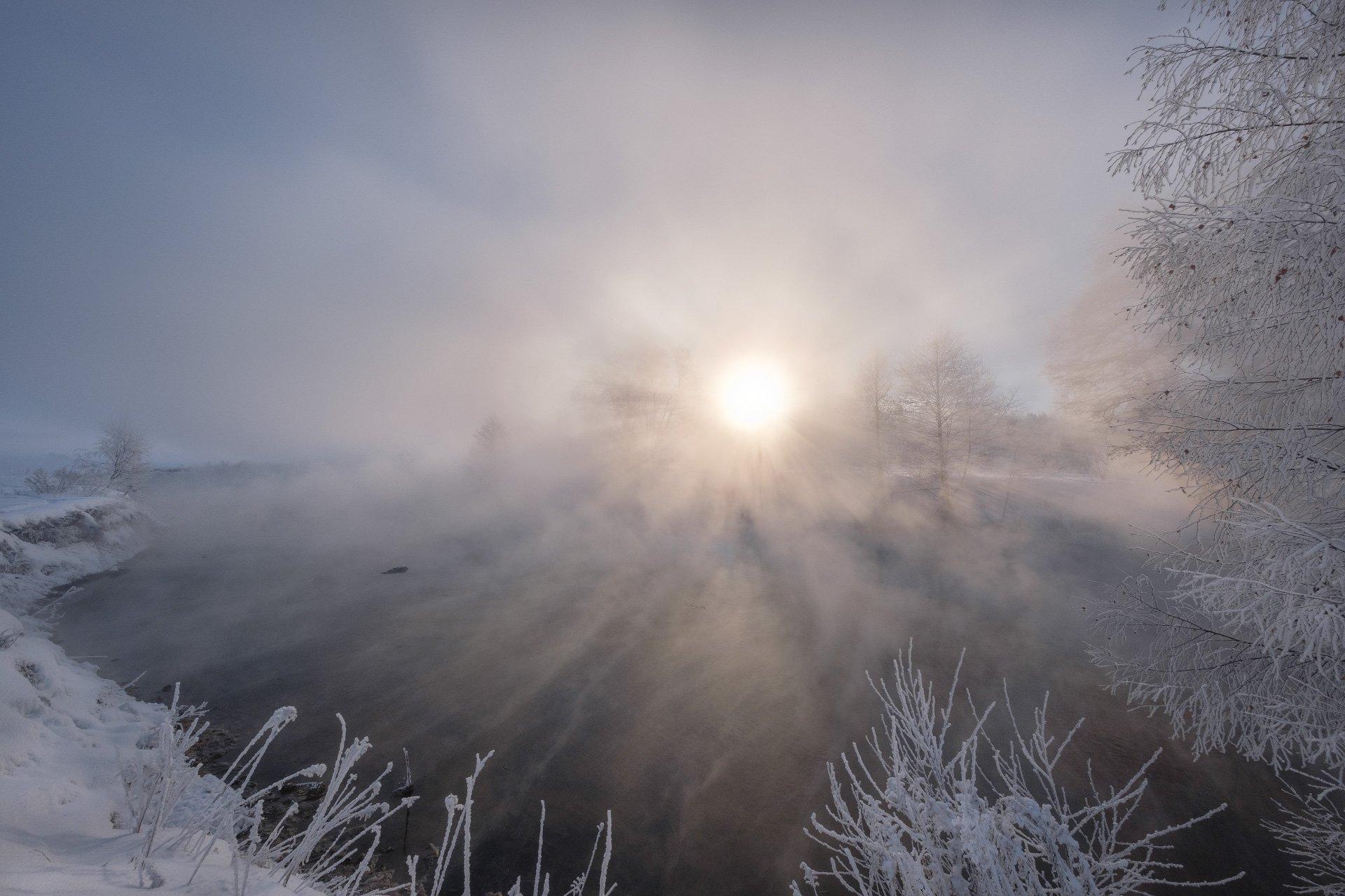 пехорка, река, пейзаж, зима, мороз, январь, туман, пар, иней, снег, лед, деревья, Андрей Чиж