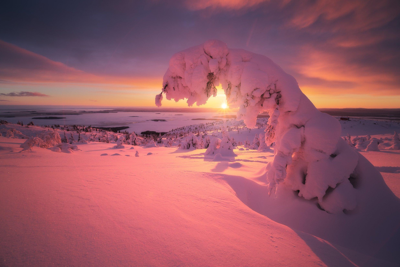 россия, кольский полуостров, мурманская область, кандалакша, природа, пейзаж, зима, горы, сопка, снег, закат, лесотундра, белое море, Оборотов Алексей