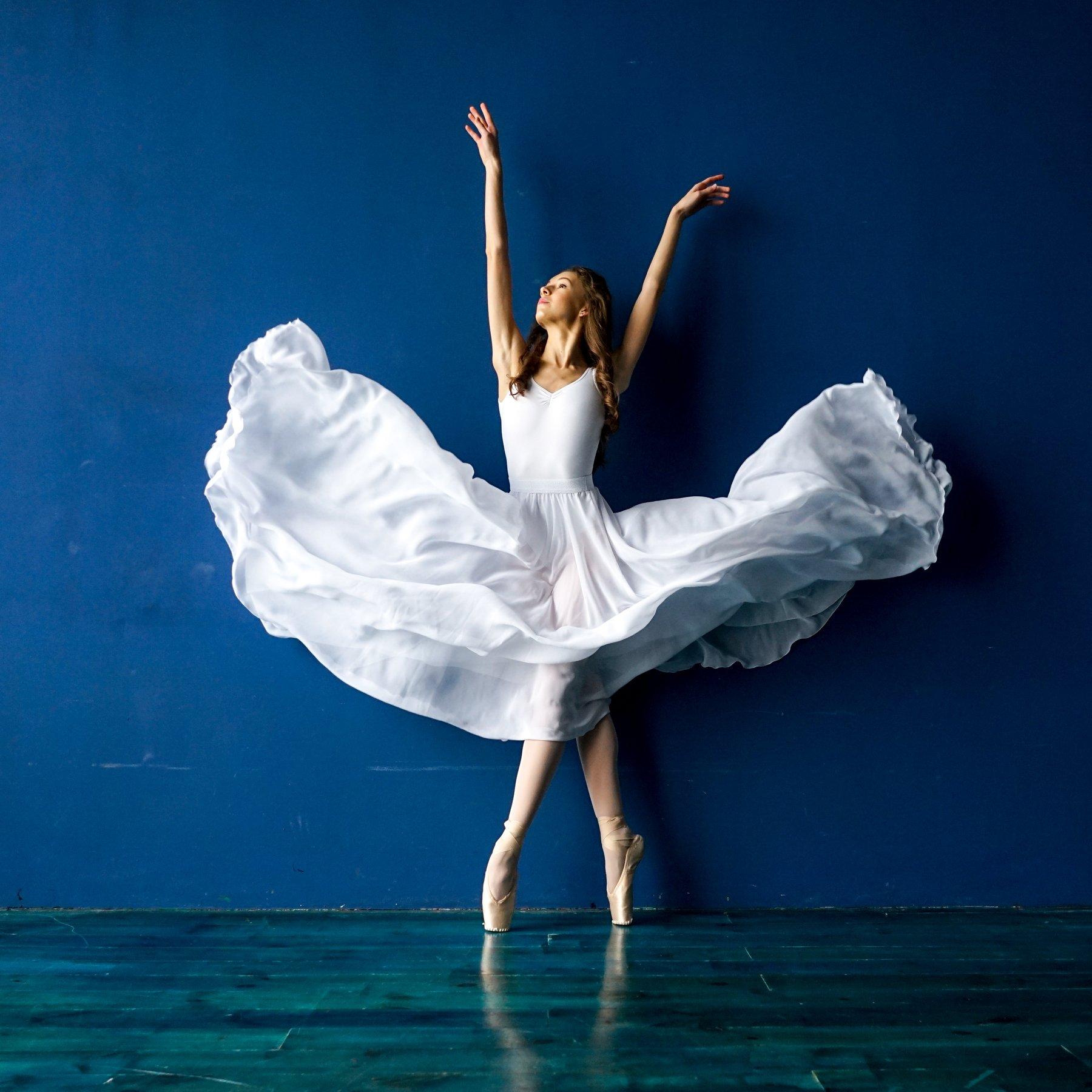 балет, балерина, студия, цвет, синий, платье, шифон, артист, танец, Анна