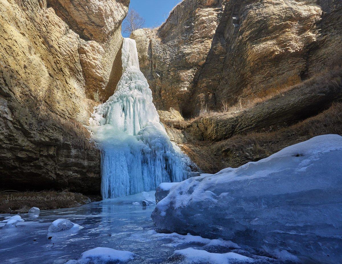 кавказ горы водопад лёд речка, Николай Стюбко