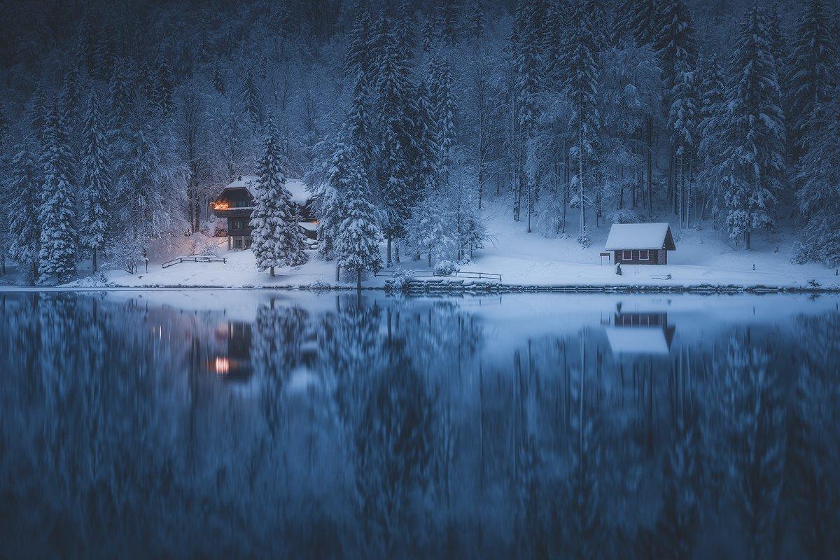 laghi di fusine italy italia landscape winterscape winter snow reflection , Roberto Pavic