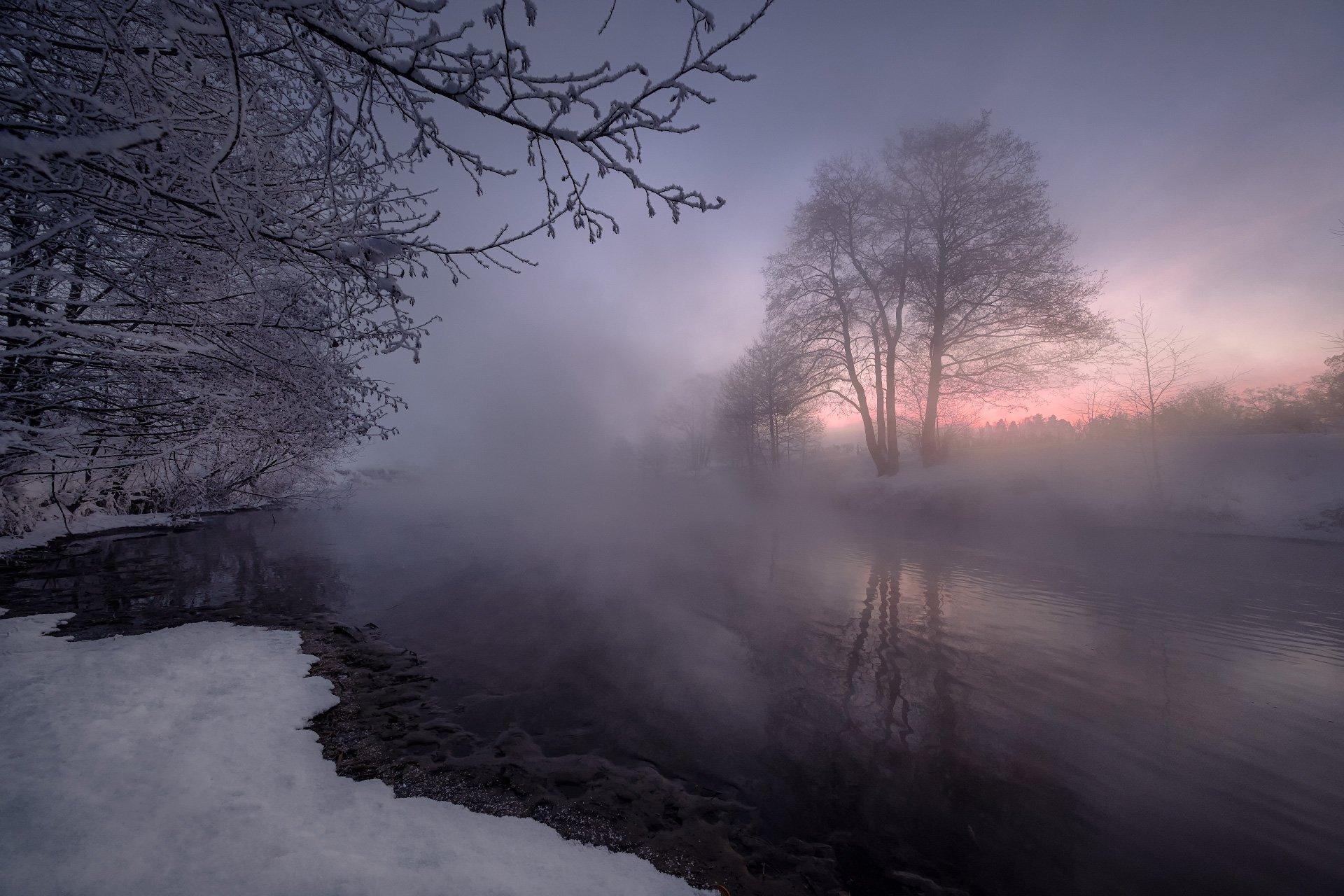 красково, пехорка, пейзаж, утро, туман, рассвет, холод, мороз, снег, солнце, деревья, москва, Андрей Чиж