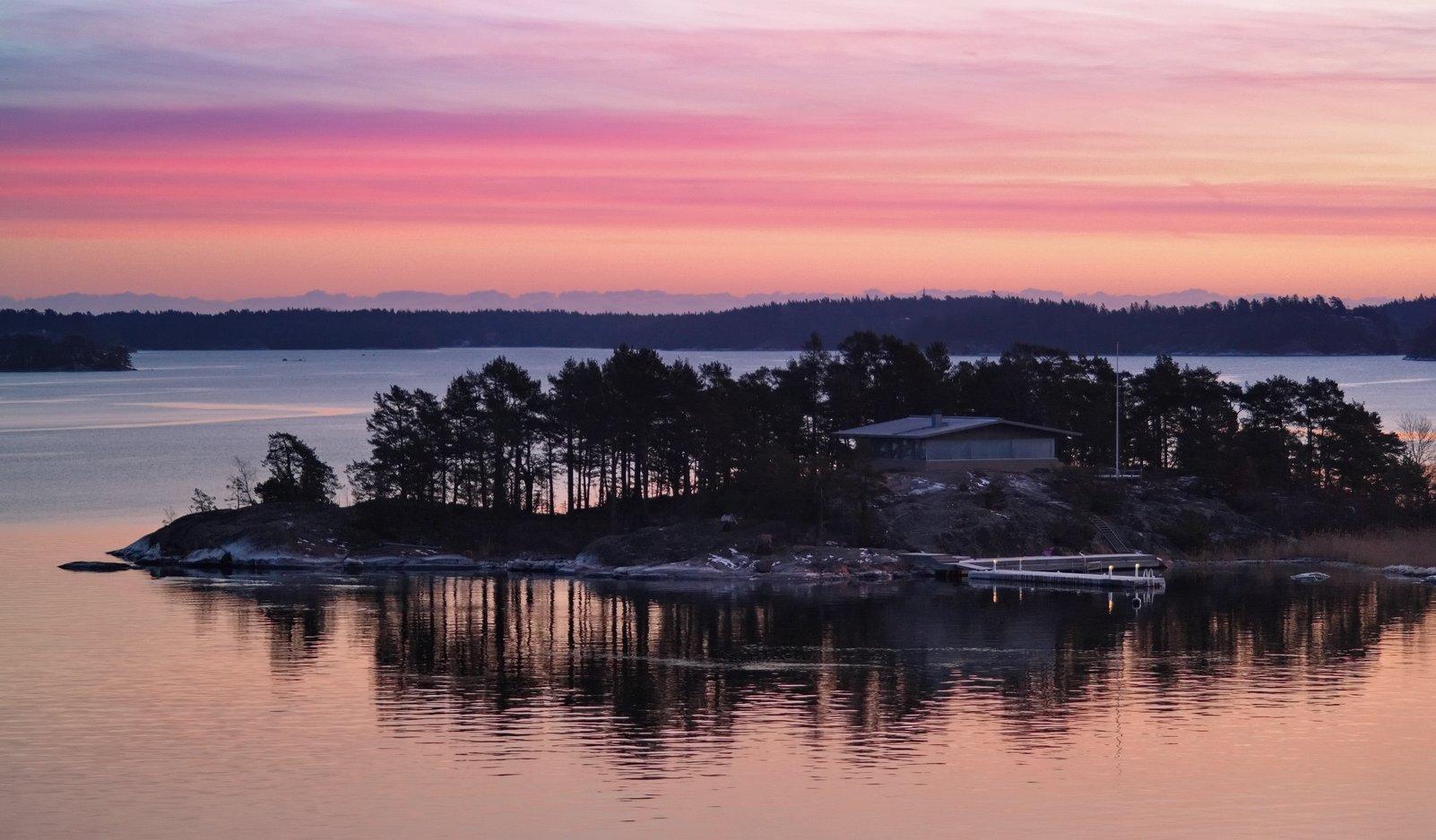 остров, Швеция, зима, дом, причал, рассвет, вода, ja