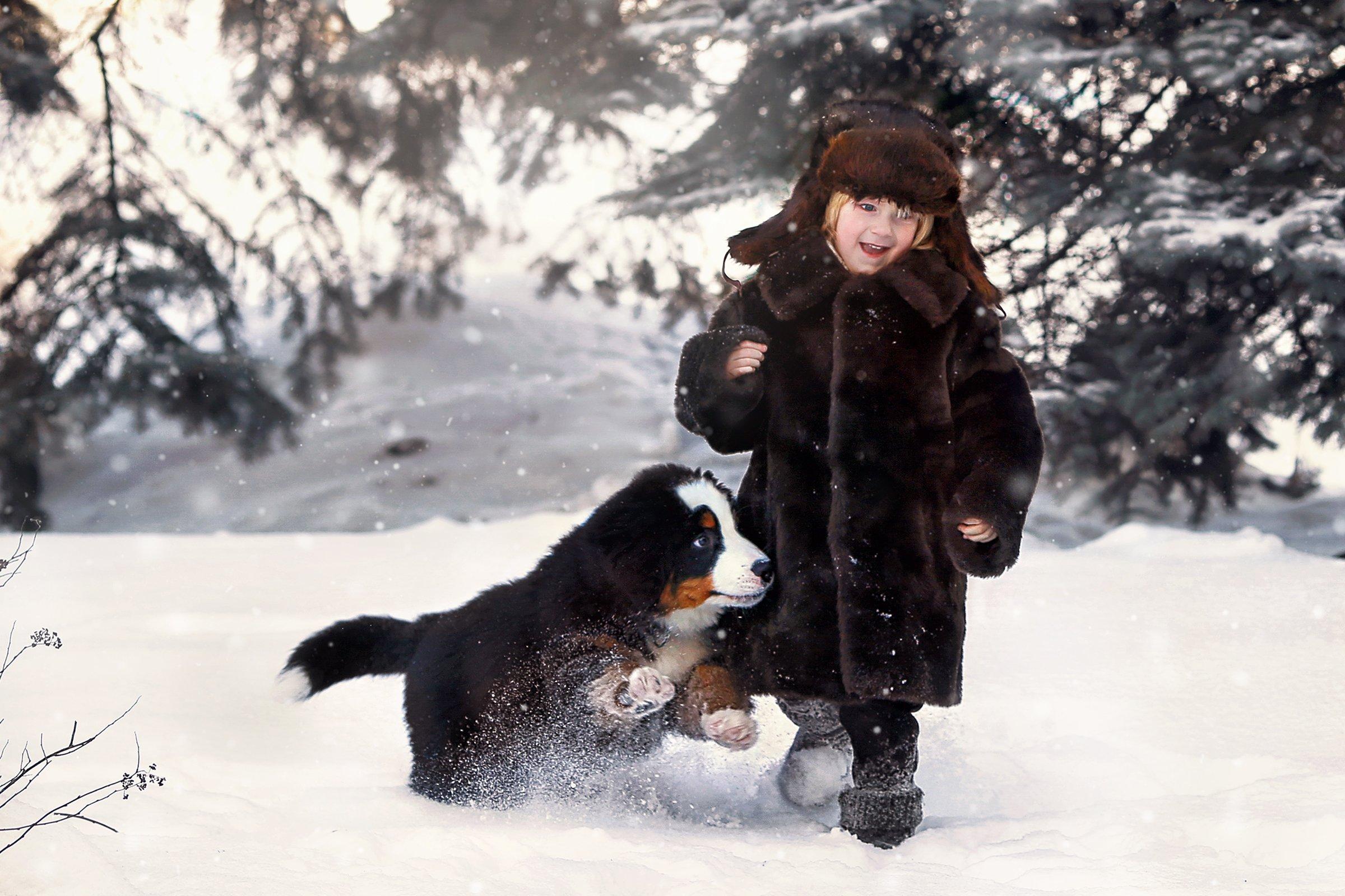 мальчик собака зима портрет, Валерия Касперова
