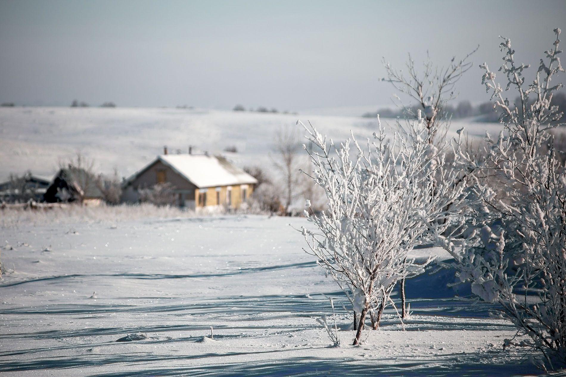 снег зима деревня, Качурин Алексей