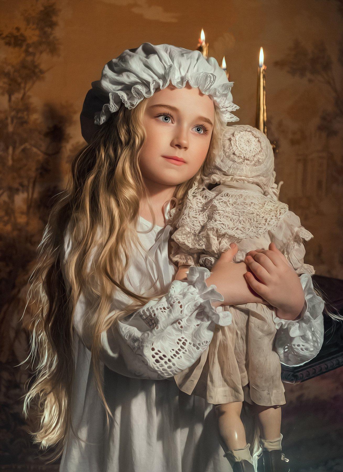 девочка с игрушкой кукла историческое платье 19 век ночнушка сказки на ночь, Софья Ознобихина