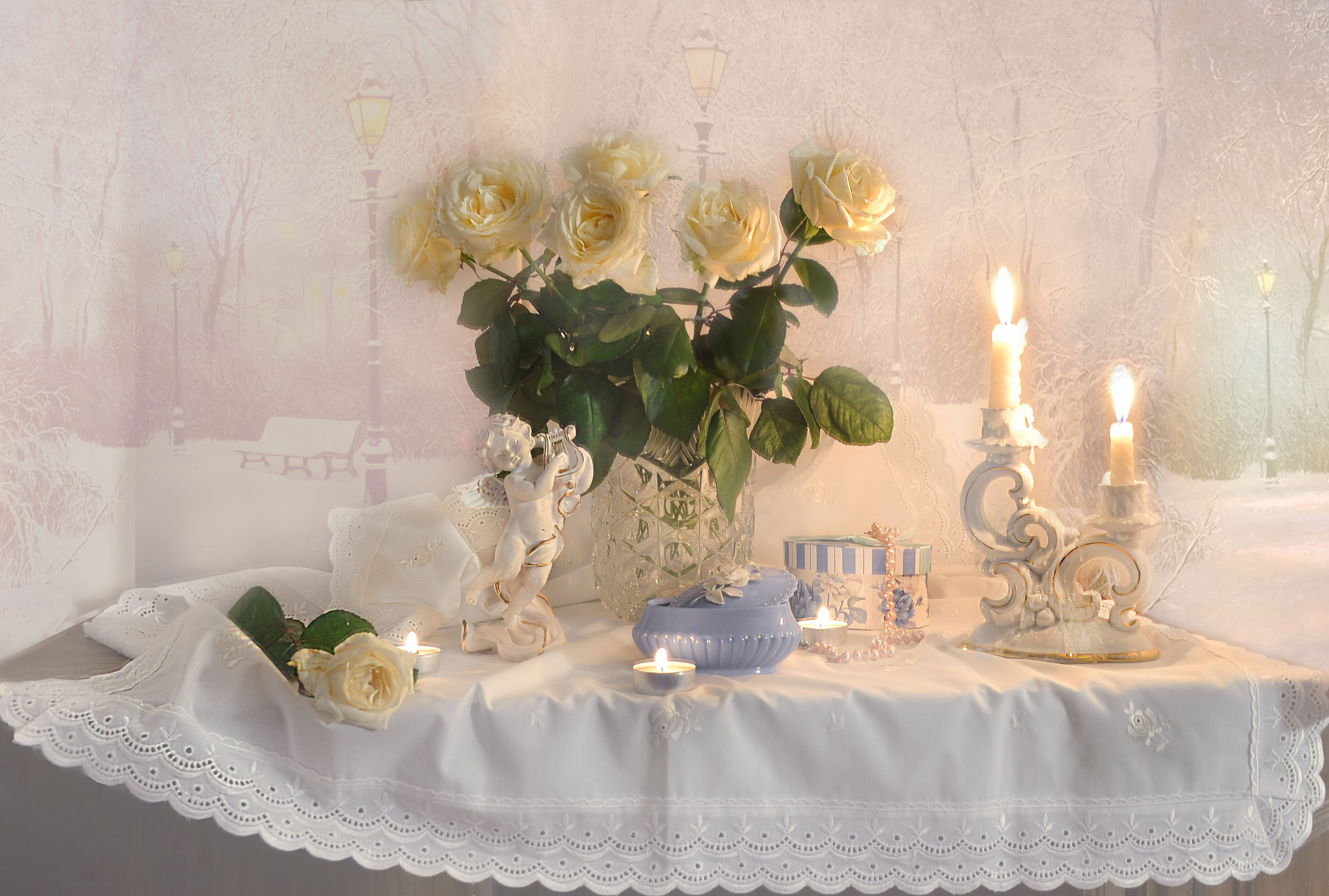 still life,натюрморт,фото натюрморт, зима,январь, цветы, розы, свечи, подсвечник, ангел, настроение, Колова Валентина